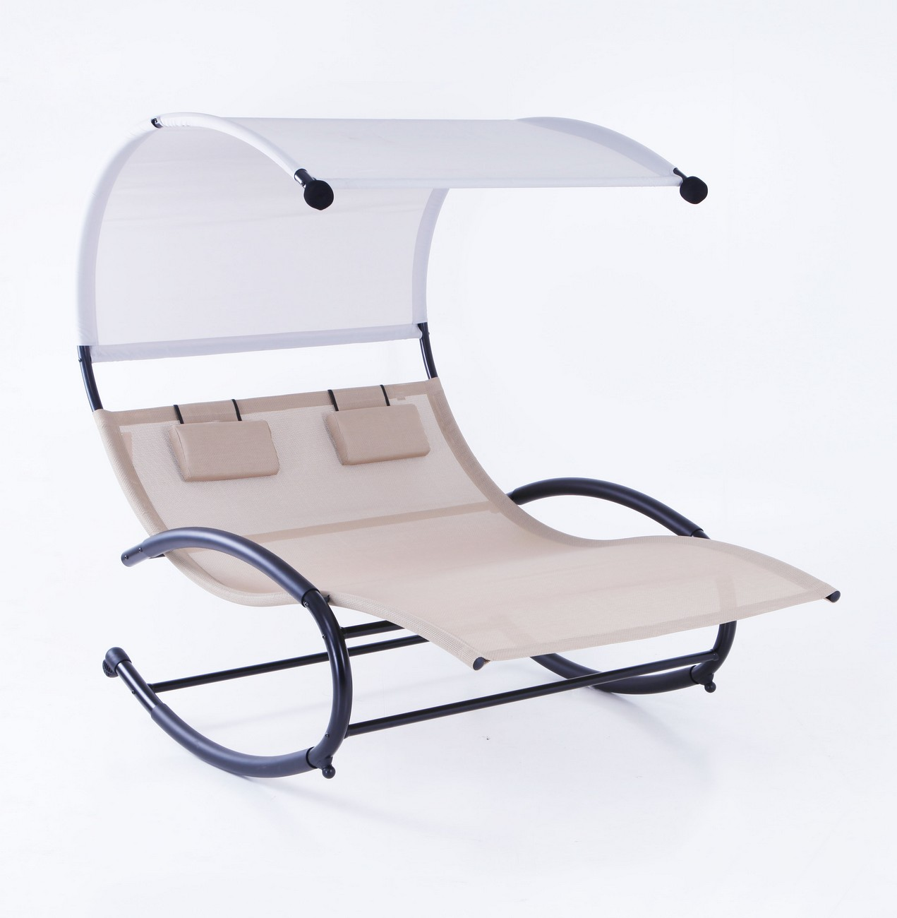 Chaise Rocking Chair Belleze Double Chaise Rocker Patio Furniture Chair Canopy Pool Swing Rocker Steel Beige