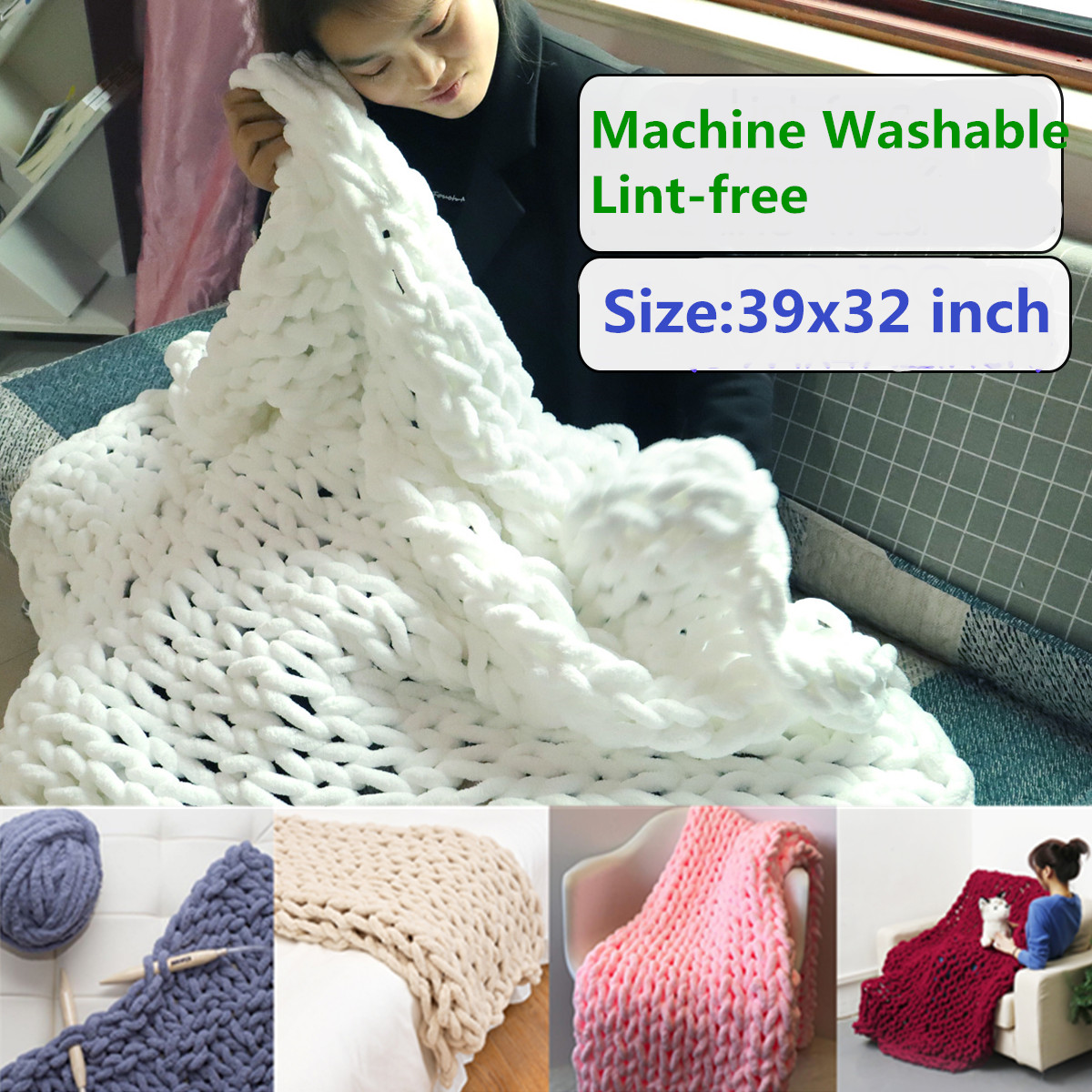 Sofa Throws Knitted 39x32 Inch Washable Hand Chunky Knitted Bed Blanket Lint Free Thick Bulky Knitting Sofa Throw Rug Child Play Mat