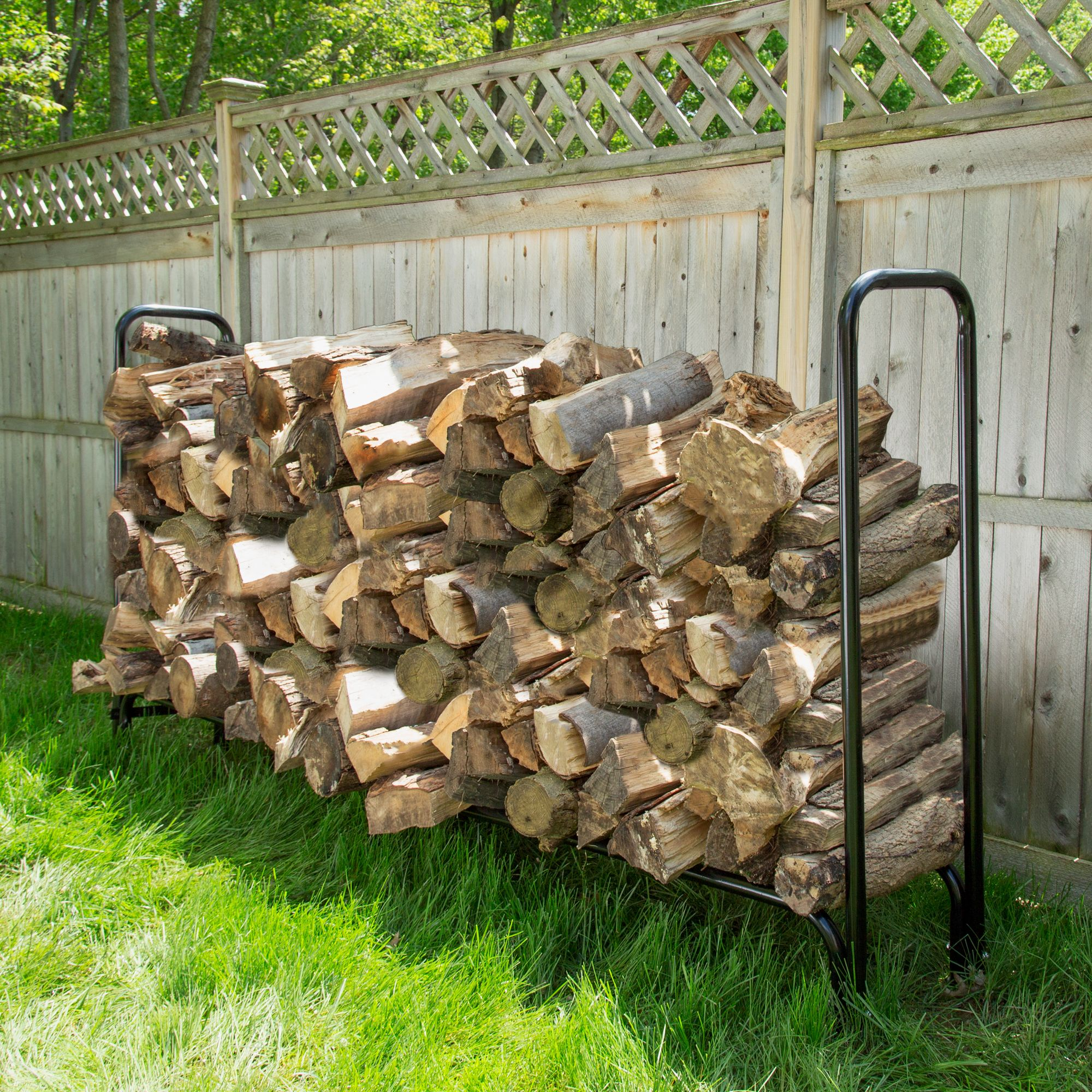 Outdoor Firewood Rack 8 Foot Firewood Log Rack With Cover By Pure Garden