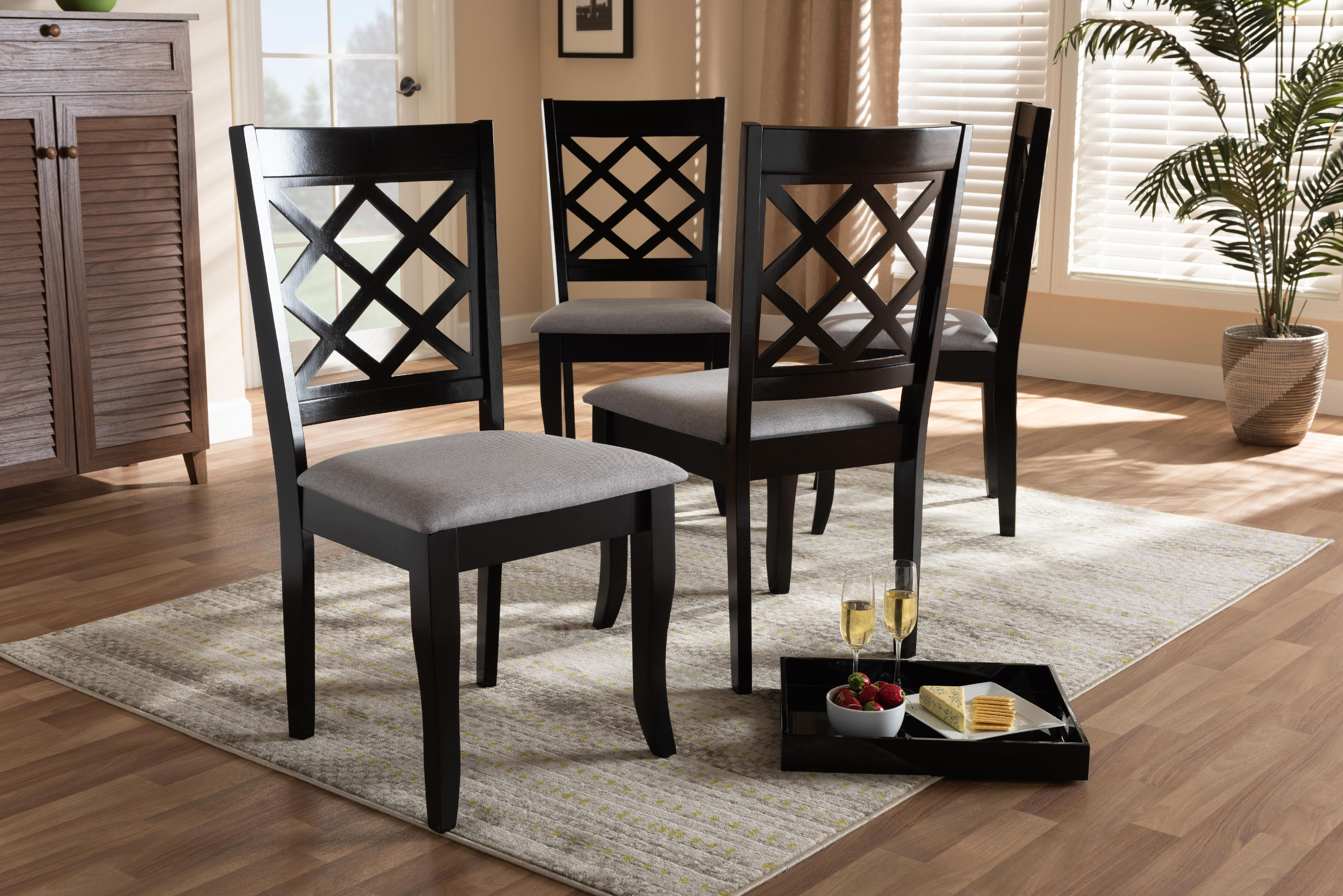 Set Of 4 Baxton Studio Verner Modern And Contemporary Grey Fabric Upholstered Espresso Brown Finished Wood Dining Chair Walmart Com Walmart Com