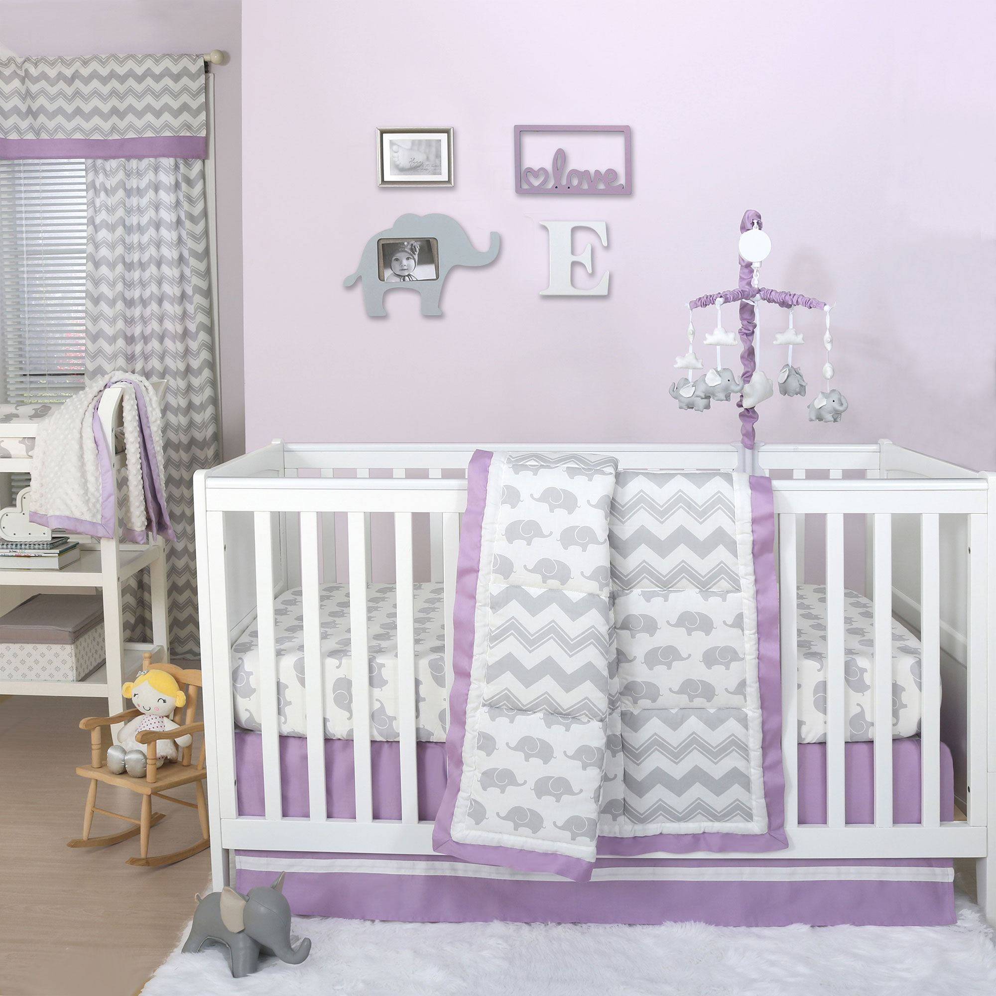 Patchwork Set Baby Grey Elephant And Chevron Patchwork 4 Piece Baby Girl Crib Bedding Set With Purple Trim
