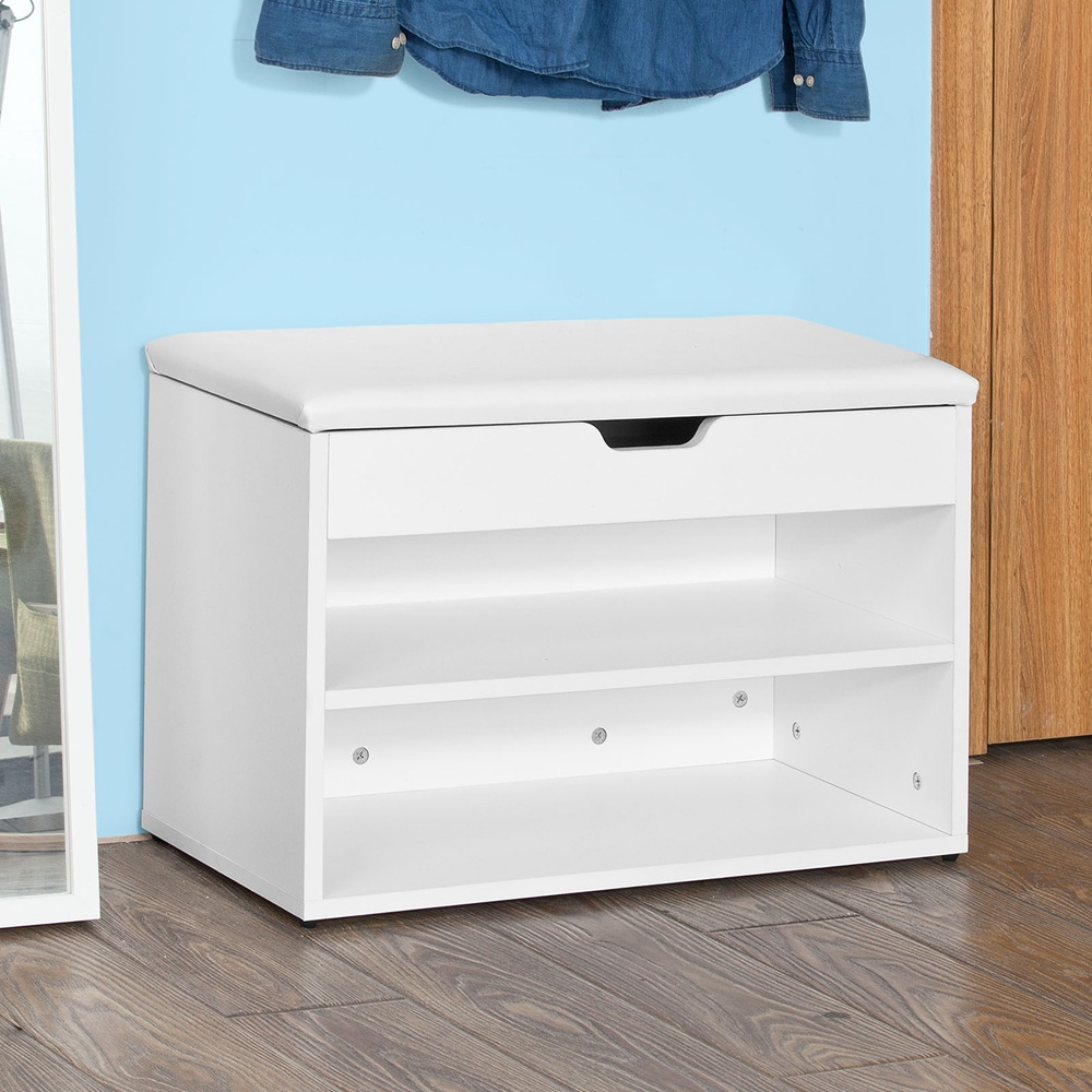 Sobuy Shop Sobuy Fsr25 W Wooden Shoe Cabinet 2 Tiers Shoe Storage Bench Shoe Rack With Folding Padded Seat 60x30x44cm White