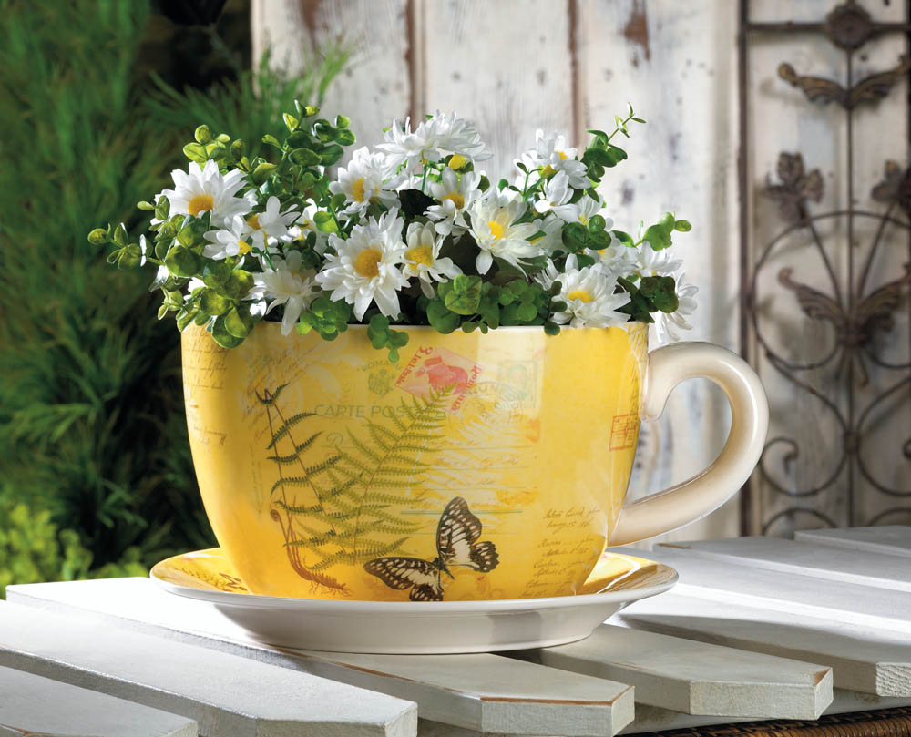 Large Tea Cup Planter Butterfly Dolomite Tea Cup Planter 4 5 Inches