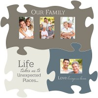 Puzzle Piece Wall Decor with Photo Frames, 3-Piece Set ...