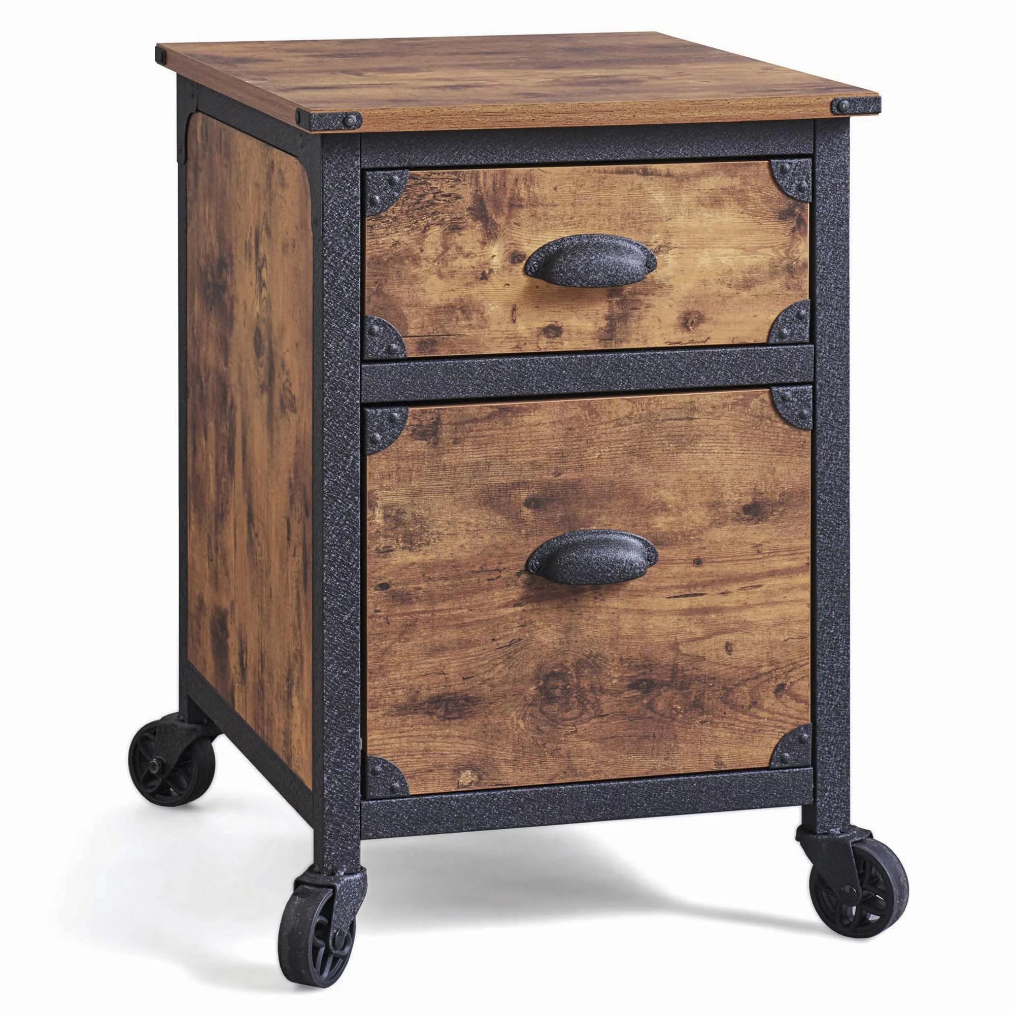 Industrial Rustic Wood Black Metal 2 Drawer File Cabinet