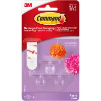 Command Party Ceiling Hooks, Clear, 3 Hooks, 4 Strips/Pack ...