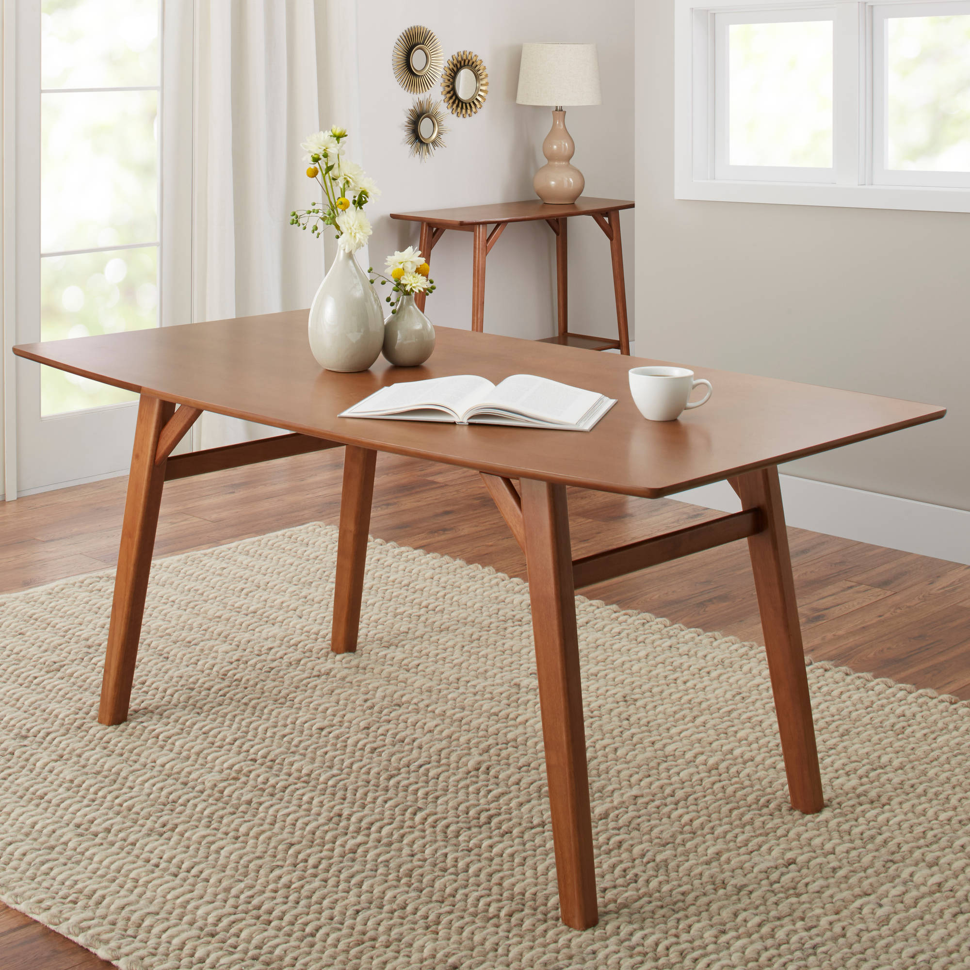 Modern Dining Room Furniture Better Homes Gardens Reed Mid Century Modern Dining Table Pecan