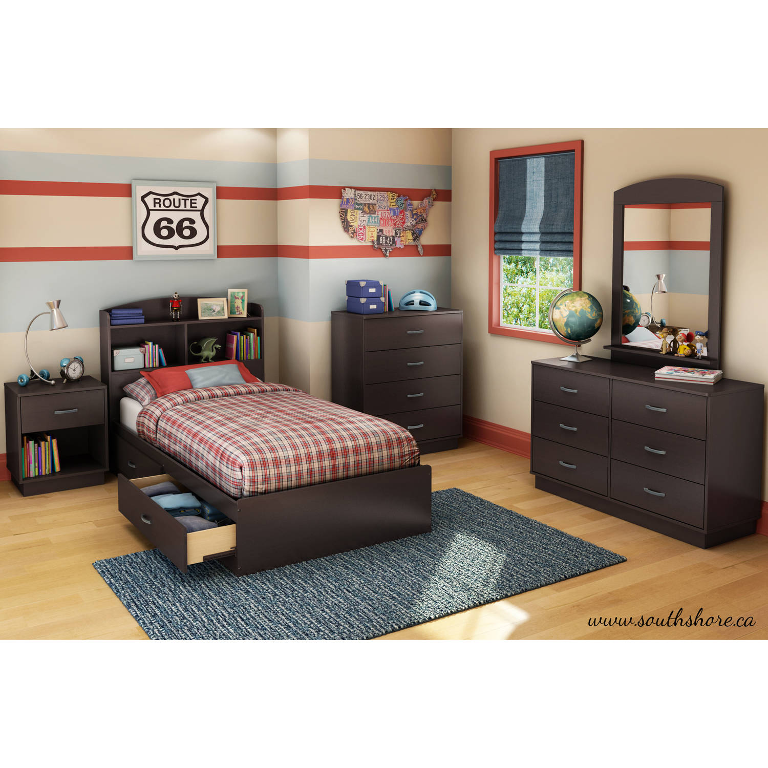 Kids Headboards South Shore Logik Twin Storage Bed 39 With 2 Drawers Multiple Finishes