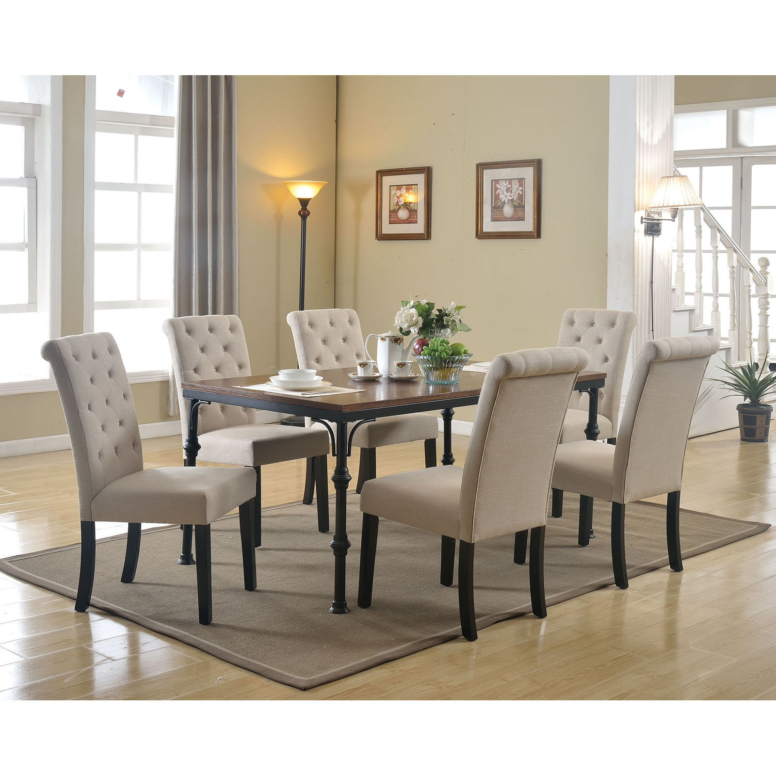 Dining Room Chair Fabric Acme Vriel Side Chair Beige Fabric And Black Set Of 2