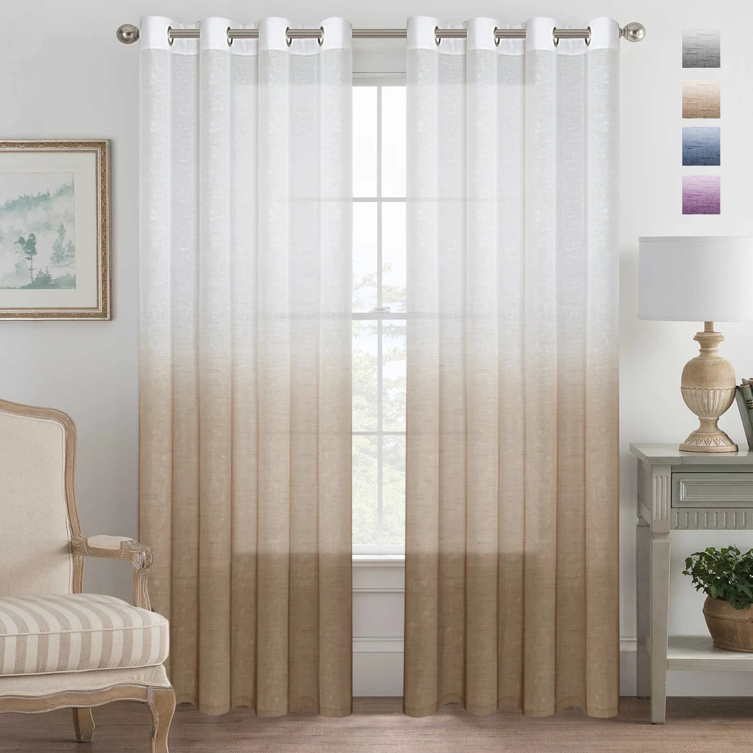 104 Inch Curtains Grey Curtains Natural Linen Mixed Semi Sheer Curtains 96 Inches