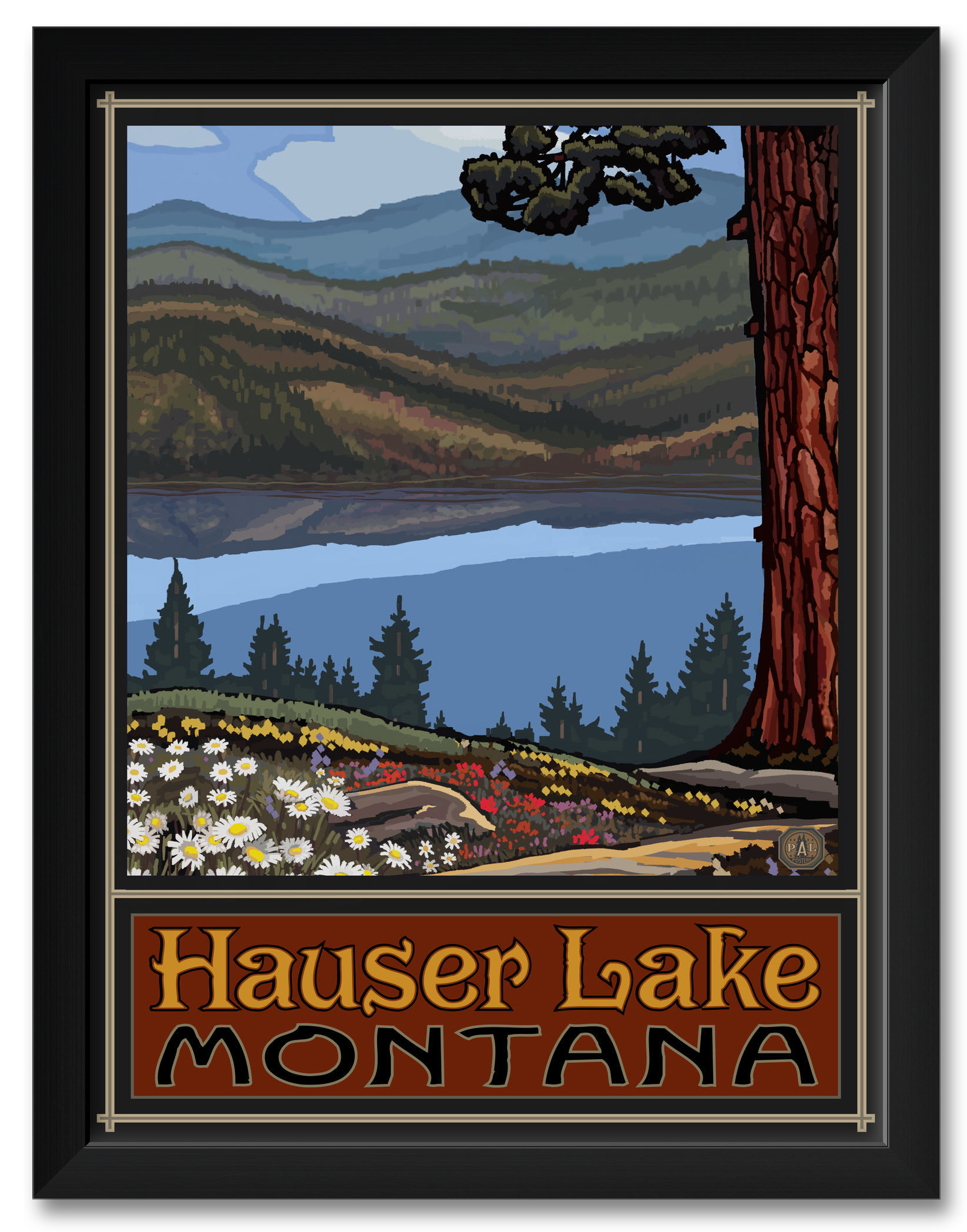 Häuser 24 Hauser Lake Montana Lake Canoers Mountains Framed Art Print By Paul A Lanquist Print Size 18