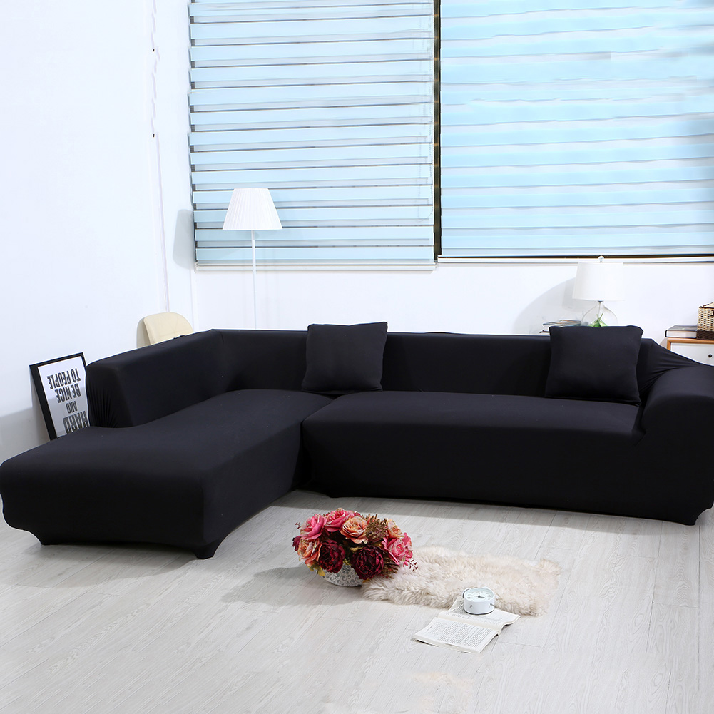 Sofa L Images Sofa Covers For L Shape 2pcs Polyester Fabric Stretch Slipcovers 2pcs Pillow Covers For Sectional Sofa L Shape Couch Solid Color Black