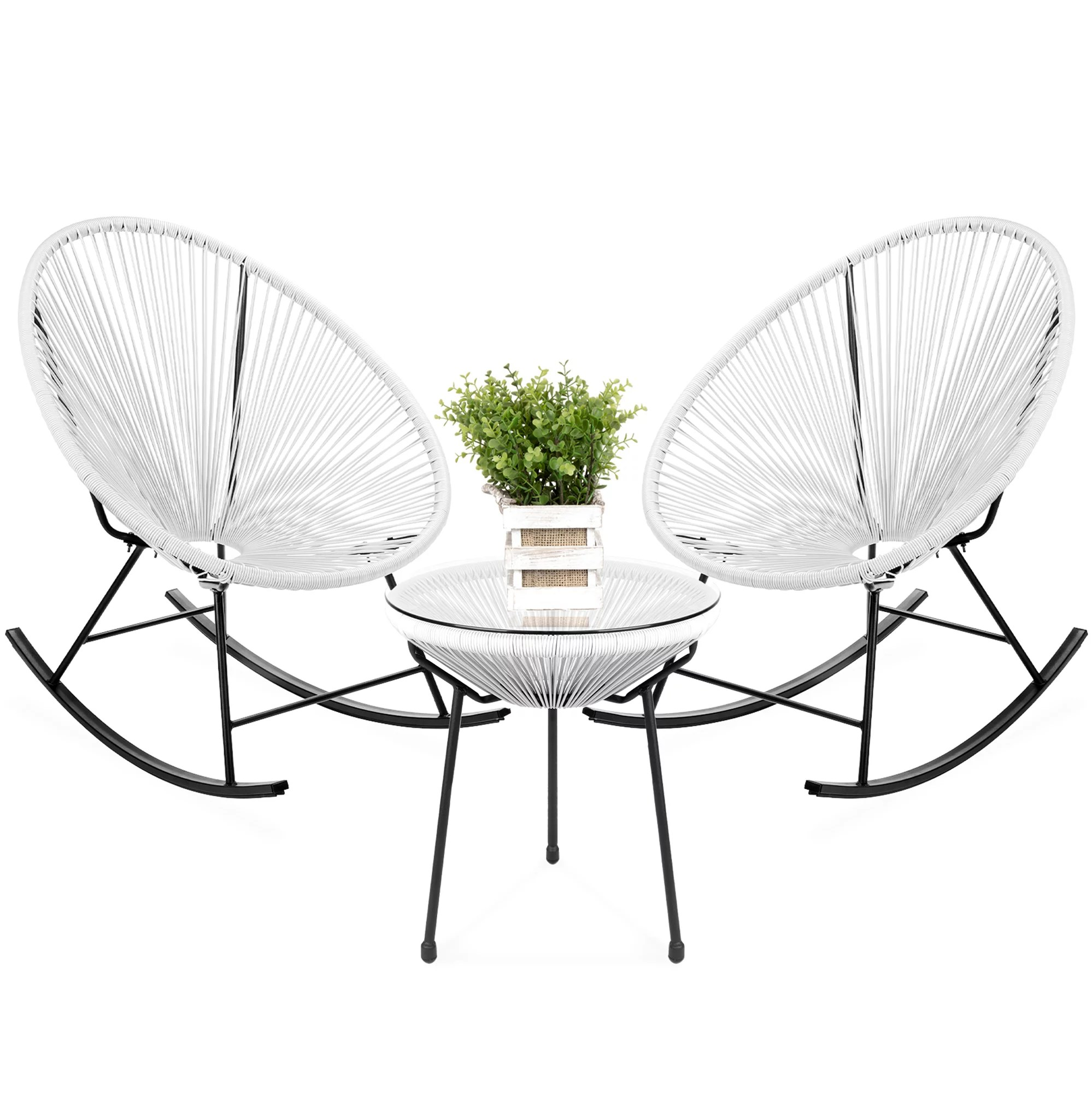 Best Choice Products 3 Piece All Weather Patio Woven Rope Acapulco Bistro Furniture Set W Rocking Chairs Table White Walmart Com Walmart Com