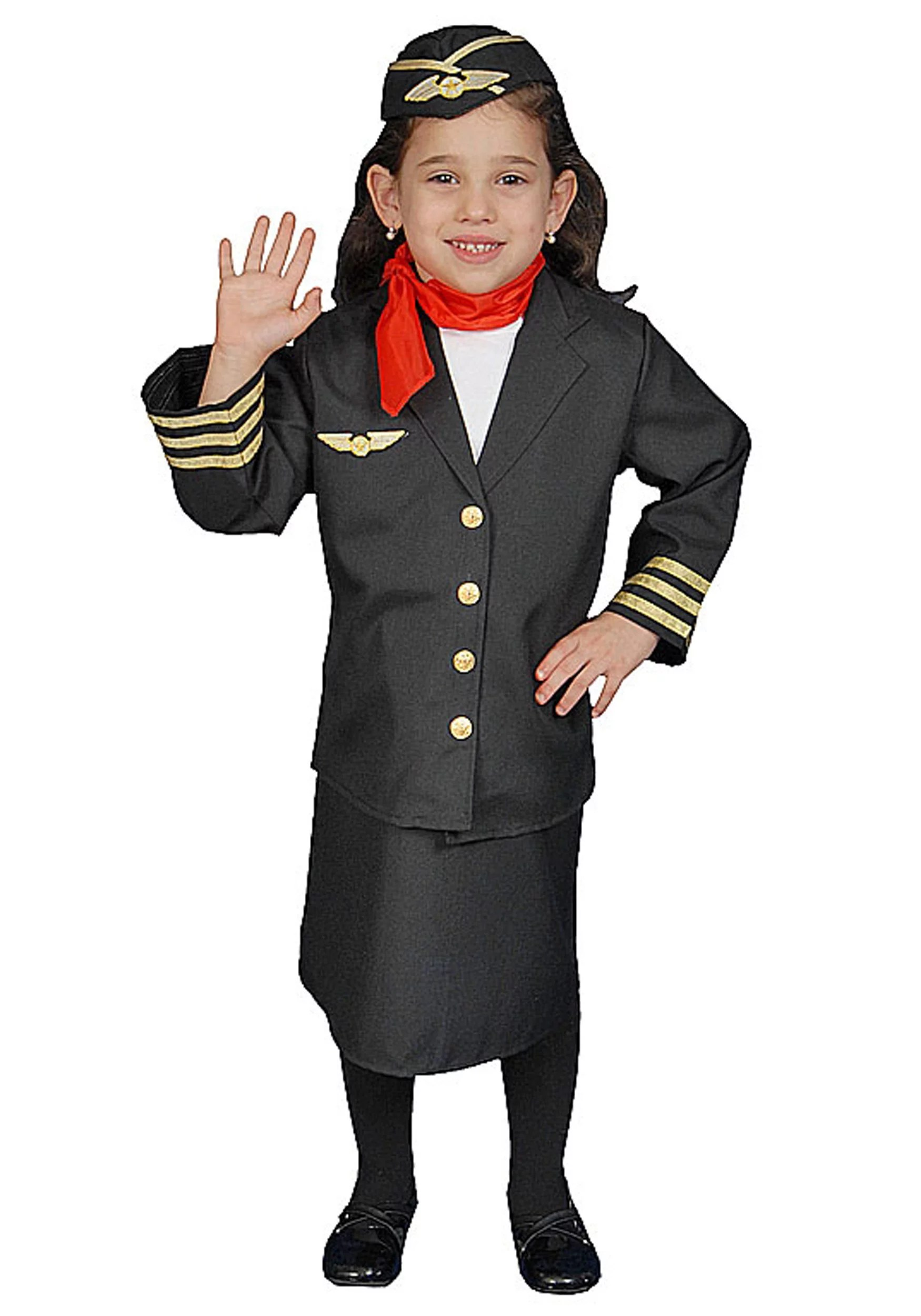 Dress Up America 366 L Flight Attendant Set Costume Size Large - Neck Scarf Air Hostess