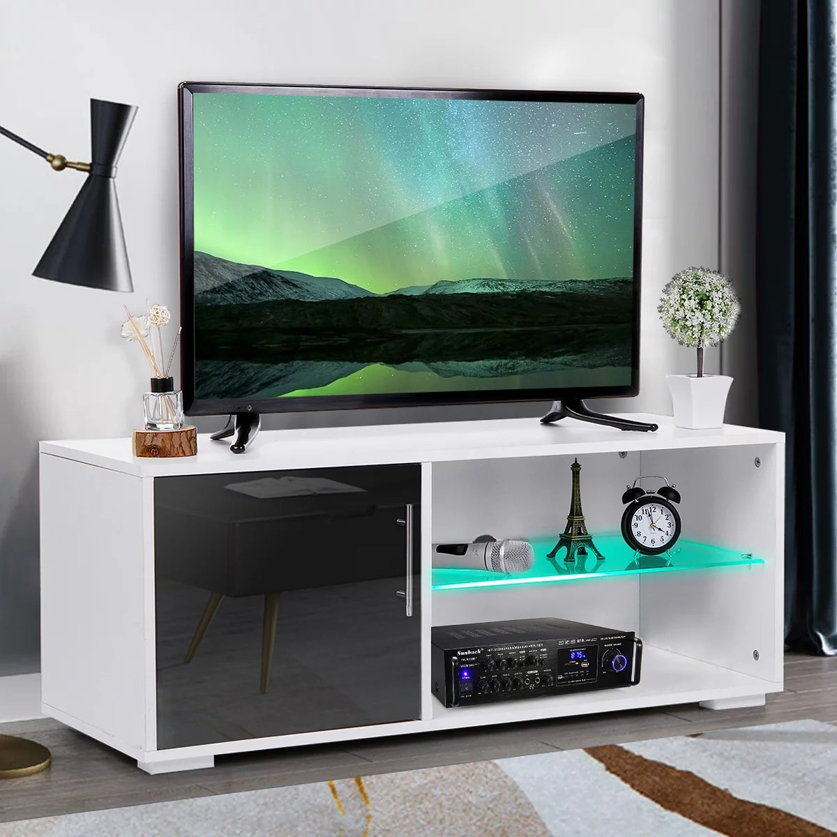 "Tv Sideboard Modern 39"" Modern High Gloss Tv Stand Cabinet With Led Shelves ..."