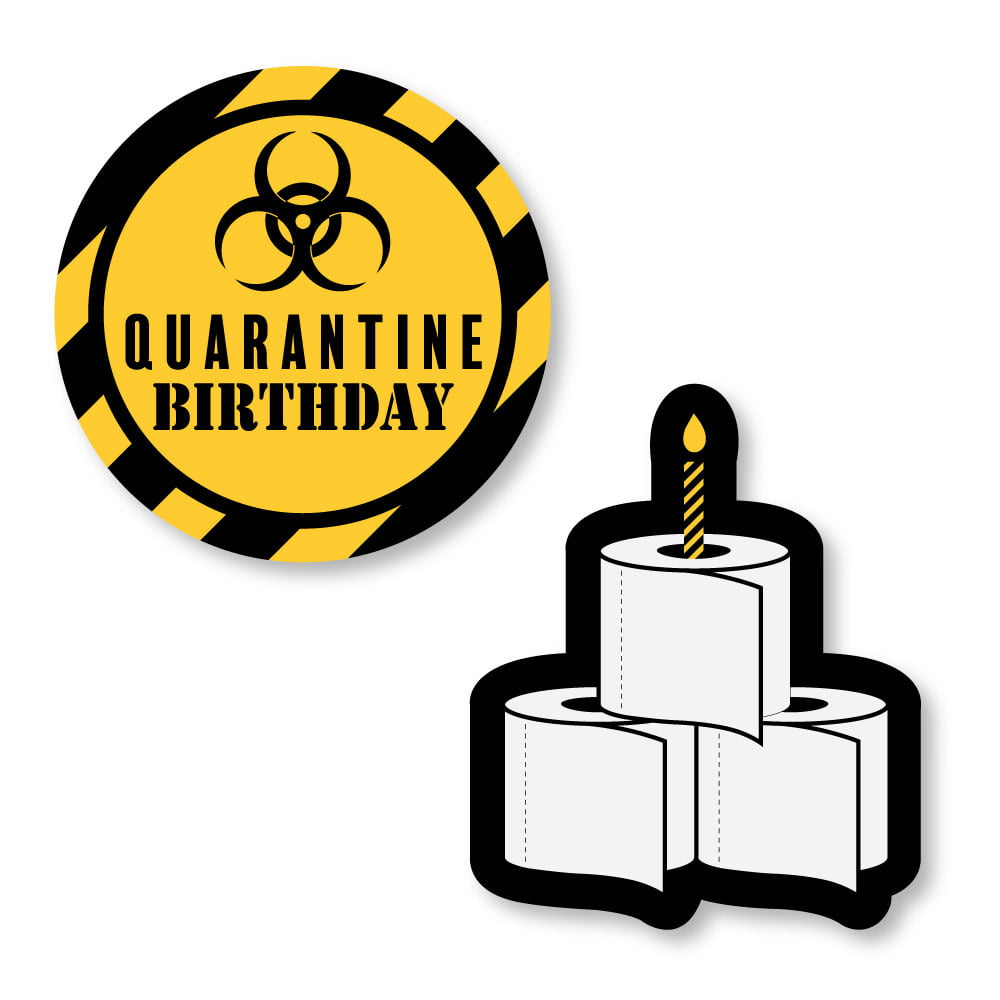 Happy Quarantine Birthday Social Distancing Party Circle Sticker Labels 24 Count Walmart Com Walmart Com