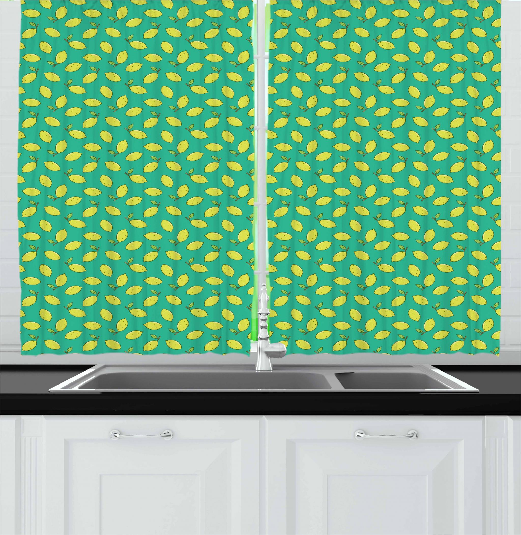 Lemon Green Curtains Vegan Curtains 2 Panels Set Yellow Lemon With Leaf Refreshing Citrus Organic Summer Garden Window Drapes For Living Room Bedroom 55w X 39l Inches