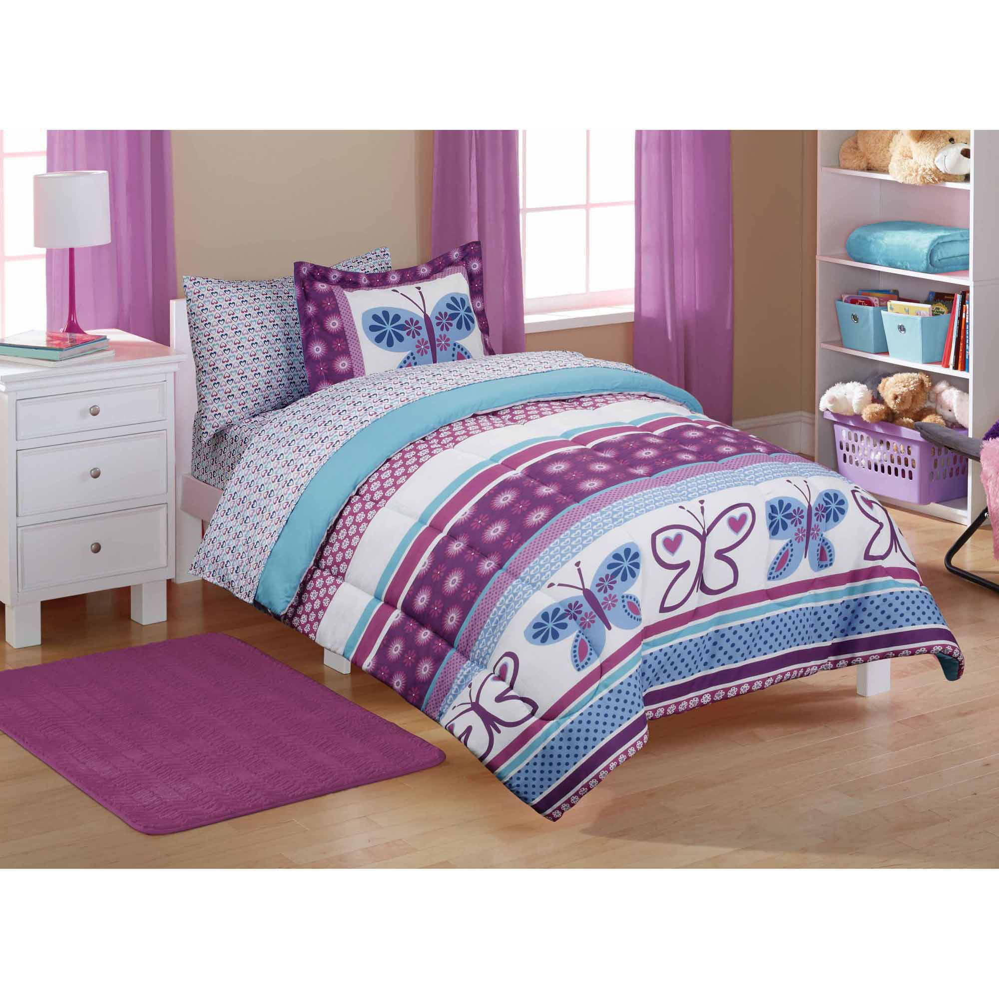 Mainstays kids purple butterfly coordinated bed in a bag
