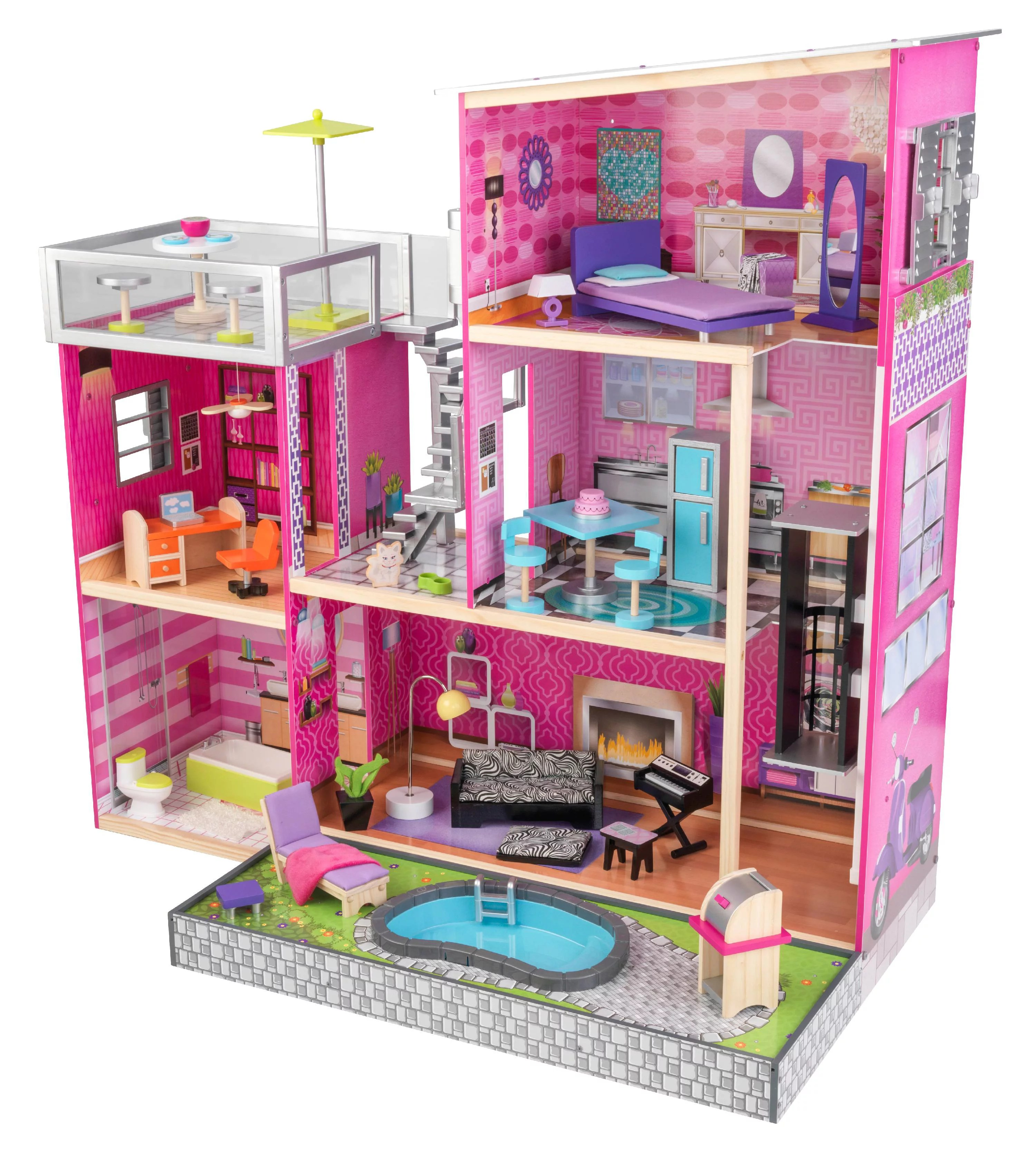 Average Cost Of Furniture For A House Kidkraft Uptown Wooden Dollhouse With 35 Pieces Of