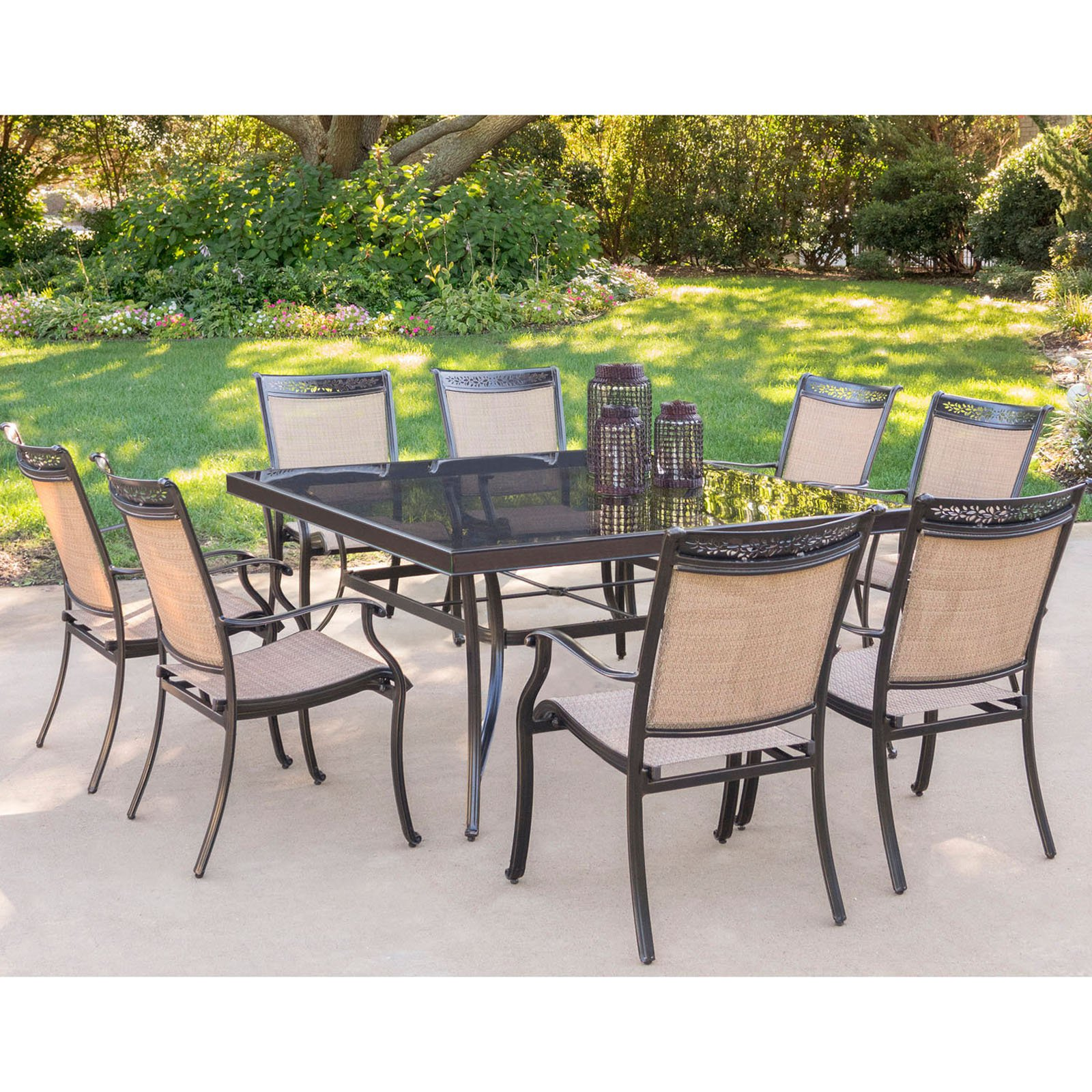9 Piece Outdoor Dining Set Hanover Fontana 9 Piece Outdoor Dining Set With Square Glass Top Table