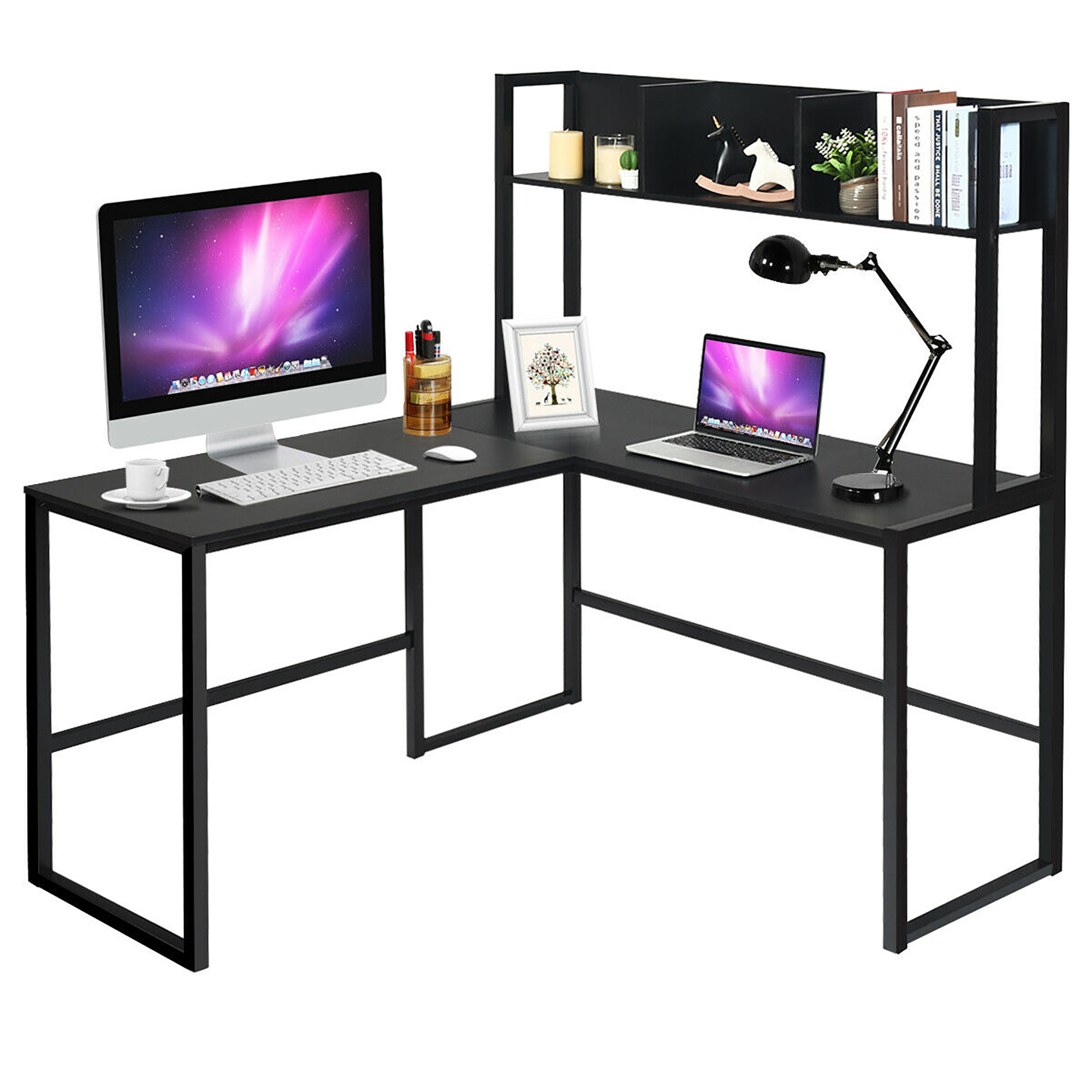 Costway 55 L Shaped Desk Corner Computer Desk W Hutch Black Walmart Canada