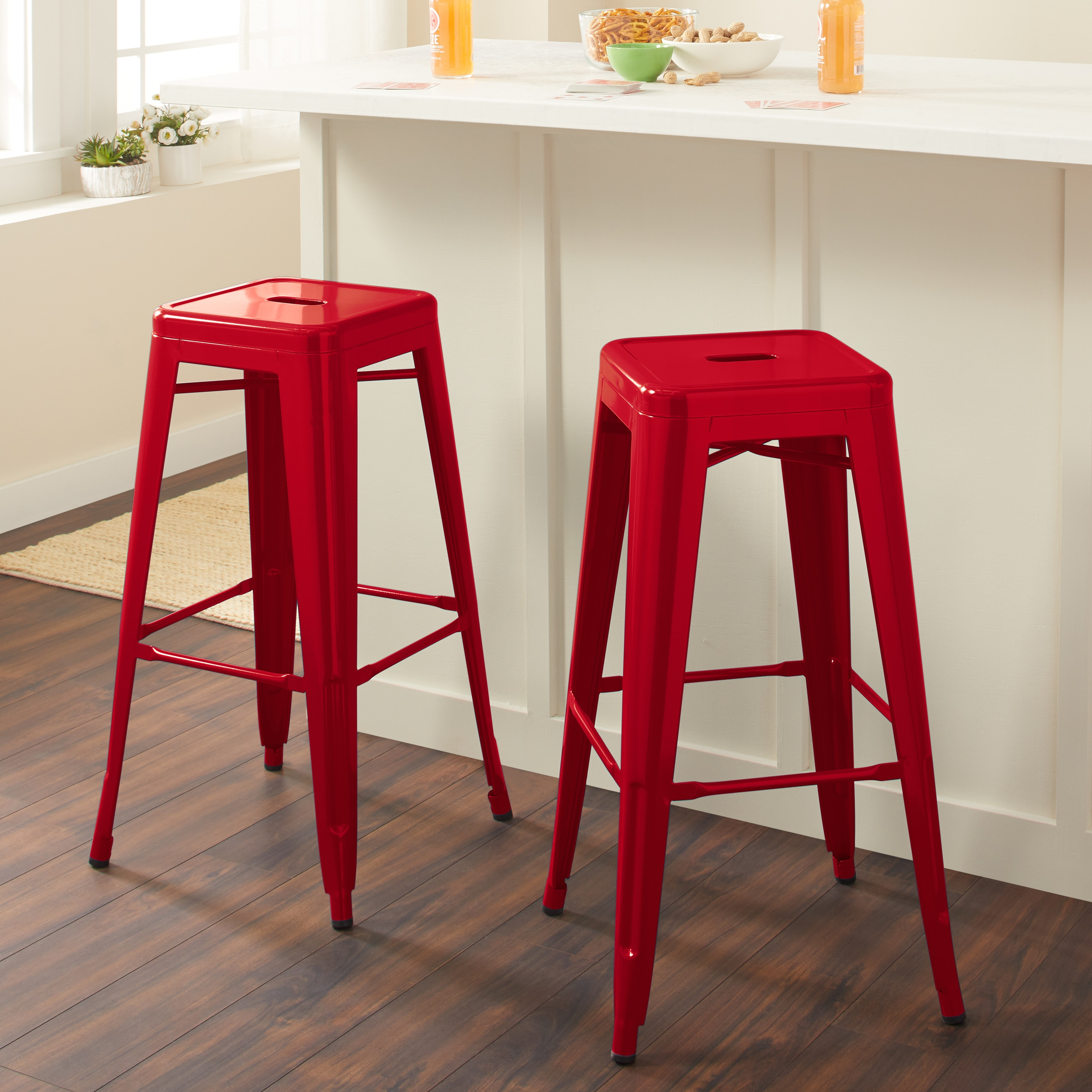 Tabourets Walmart Tabouret 30 Inch Red Metal Bar Stools Set Of 2 Walmart