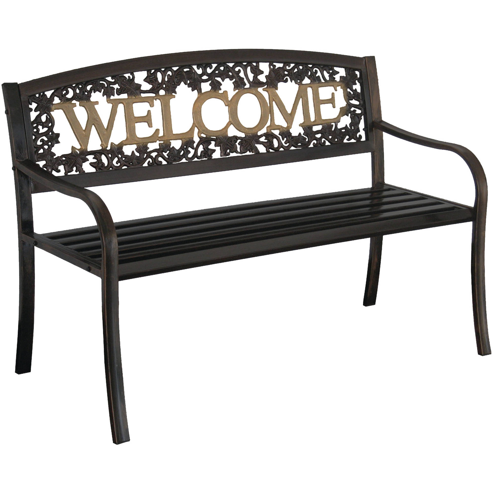 Black Bench Leigh Country Welcome Outdoor Garden Bench Black Gold