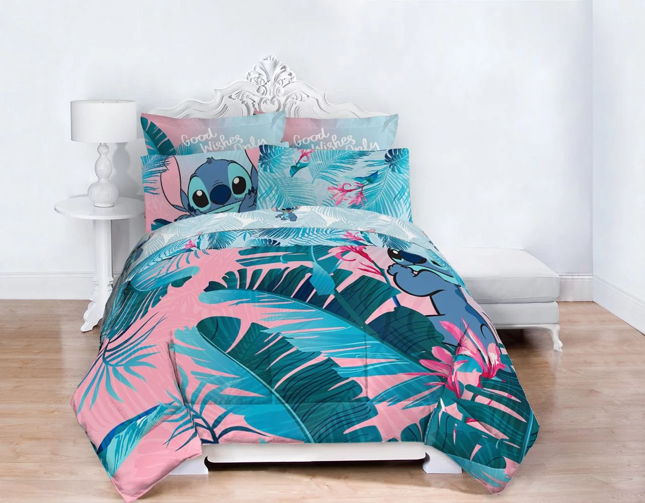Lilo Stitch Blue Pink Tropical Flowers Kids Bed In A Bag Bedding Set W Reversible Comforter Walmart Com Walmart Com