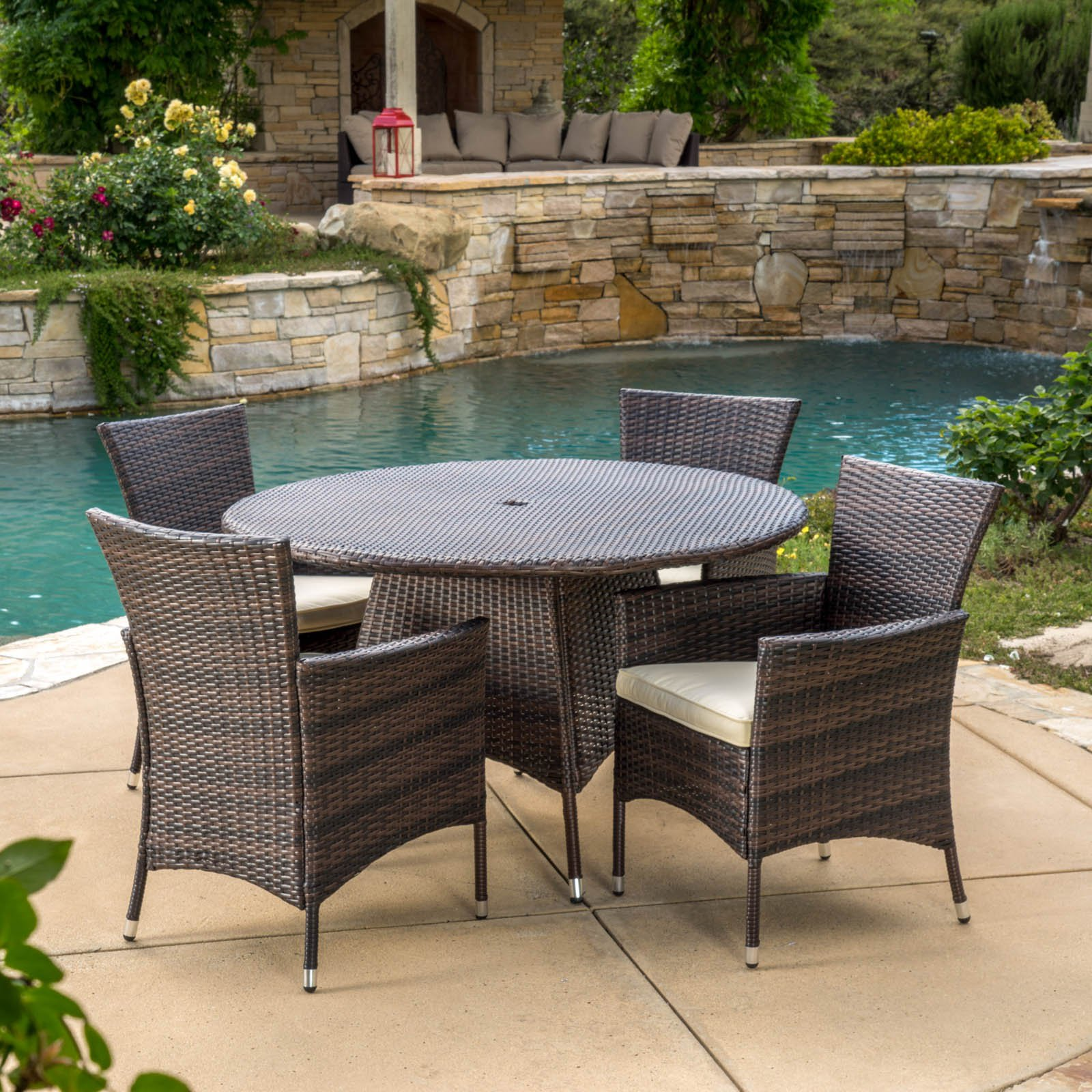 Round Patio Furniture Madison Wicker 5 Piece Round Patio Dining Set With Cushions
