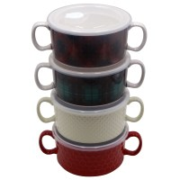 Mainstays 4-pack Double Handle Soup Bowl with lid ...
