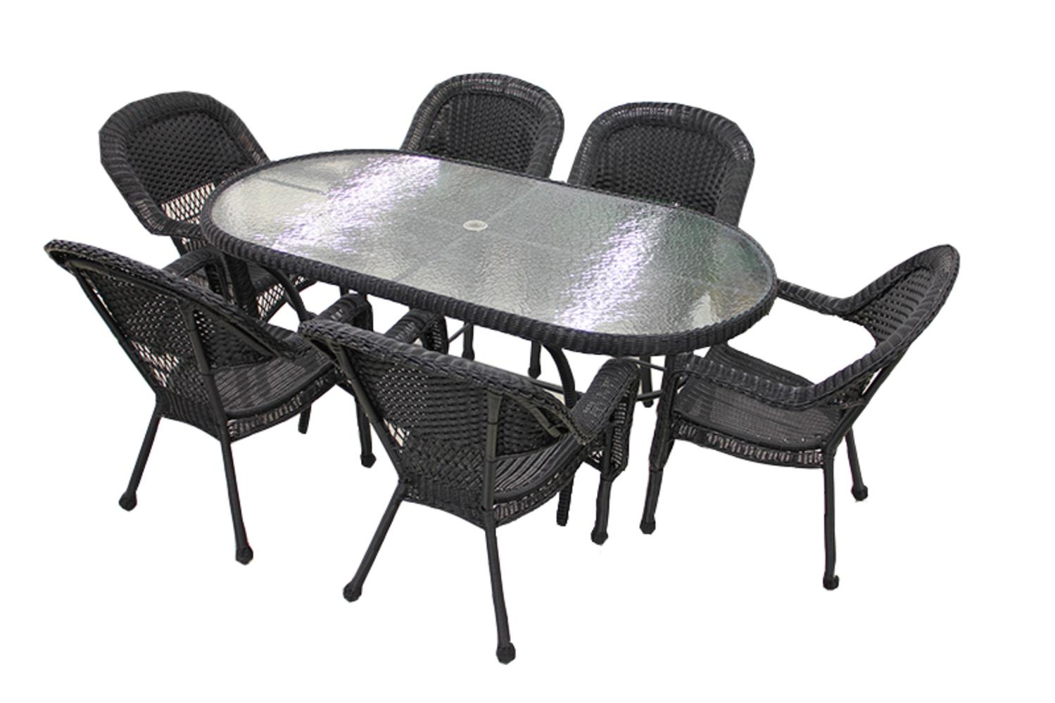 7 Piece Black Resin Wicker Patio Dining Set 6 Chairs And