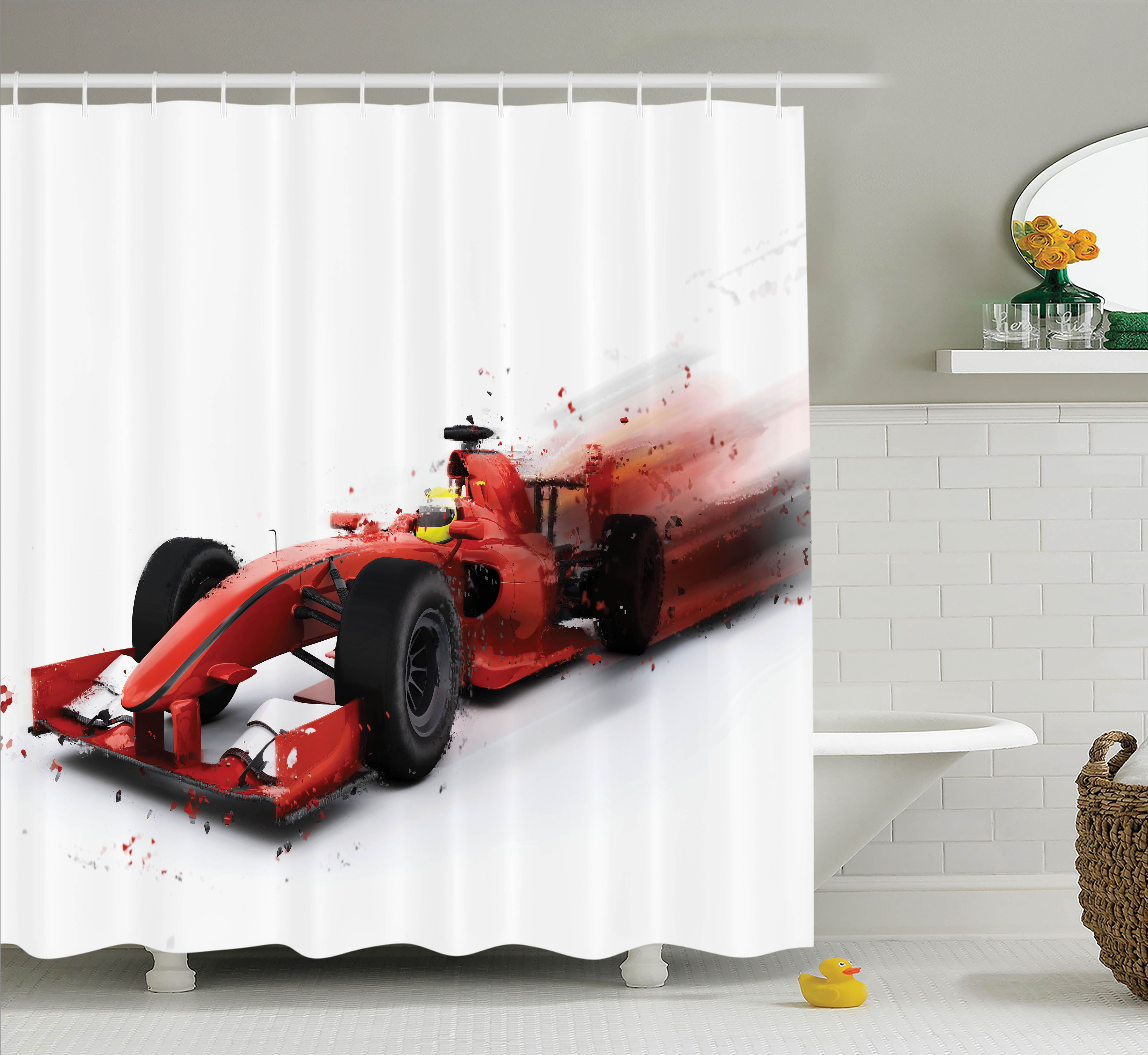 Red And Black Shower Curtain Set Cars Decor Shower Curtain Set Generic Formula 1 Racing Car Illustration With Special Pace Effect Turbo Motion Auto Print Bathroom Decor Red Black