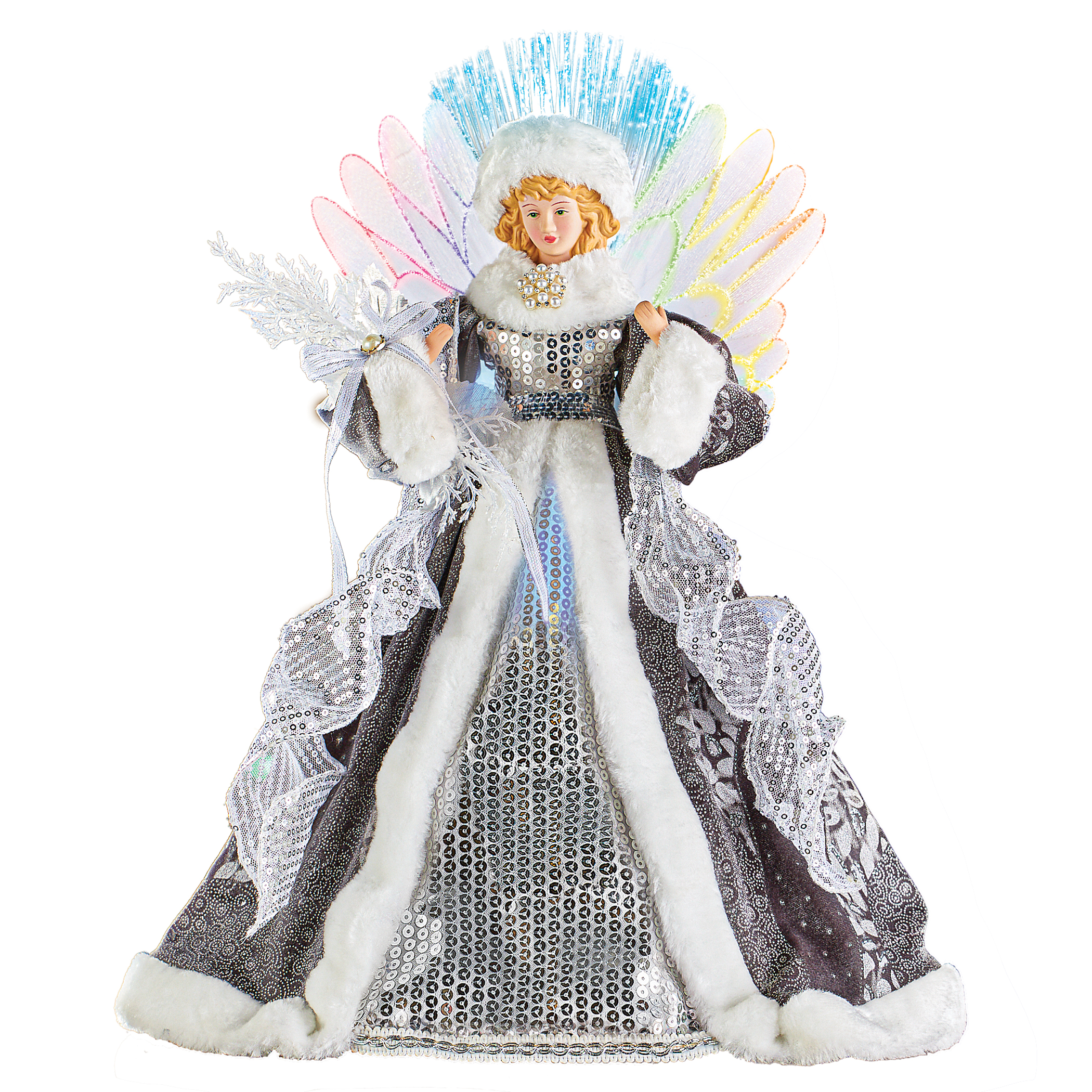 Enchanting Sequin Silver Angel Christmas Tree Topper Figurine With Dazzling Fiber Optic Lights Walmart Com Walmart Com