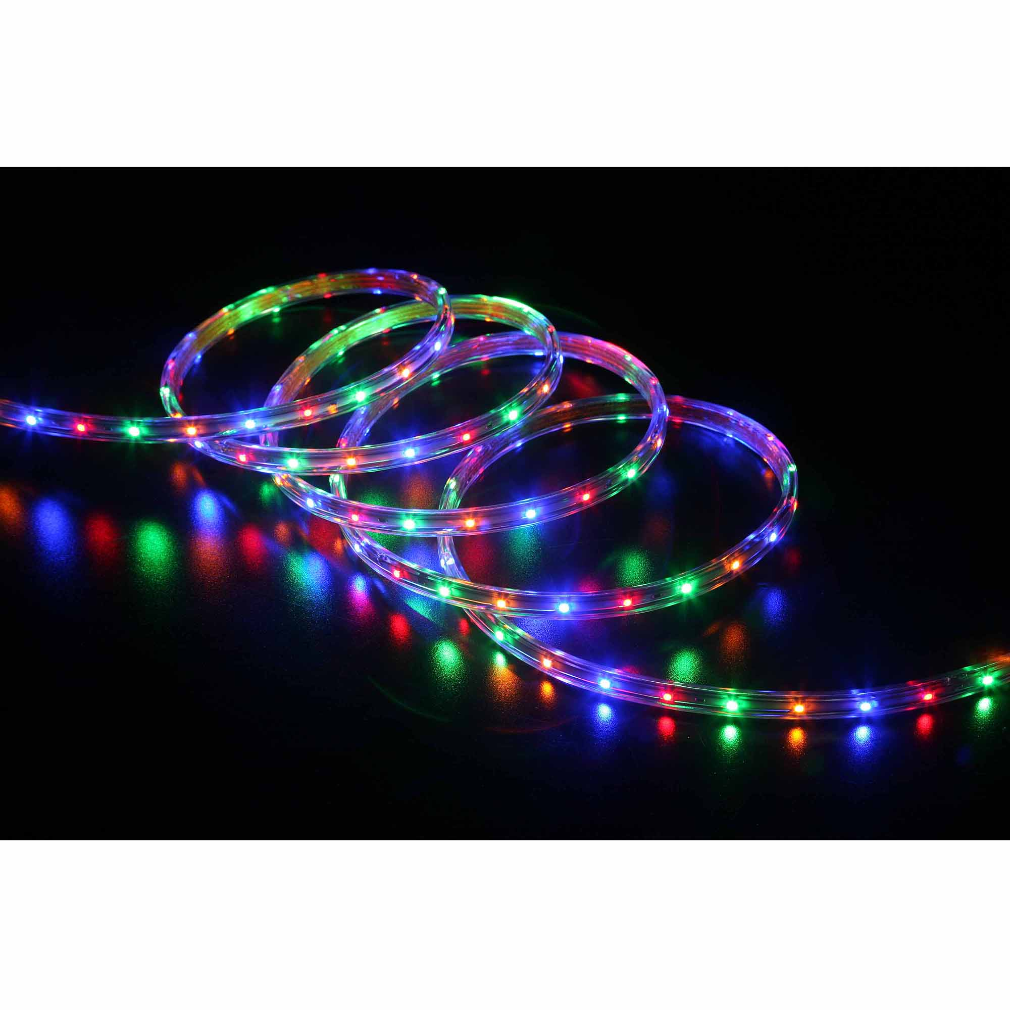 Led Lights At Walmart Holiday Time 19 6 Led Multi Colored Rope Light 240 Count