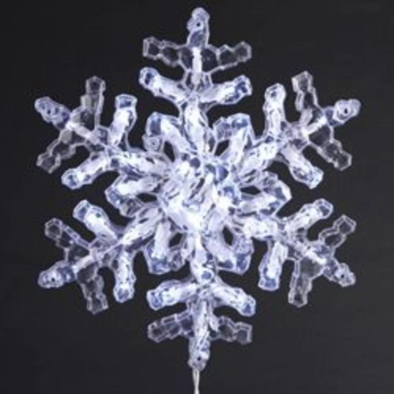 "12"" Lighted LED Polar White Clear Crystal Snowflake"