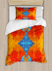 Trippy Twin Size Duvet Cover Set, Kaleidoscopic Motif ...