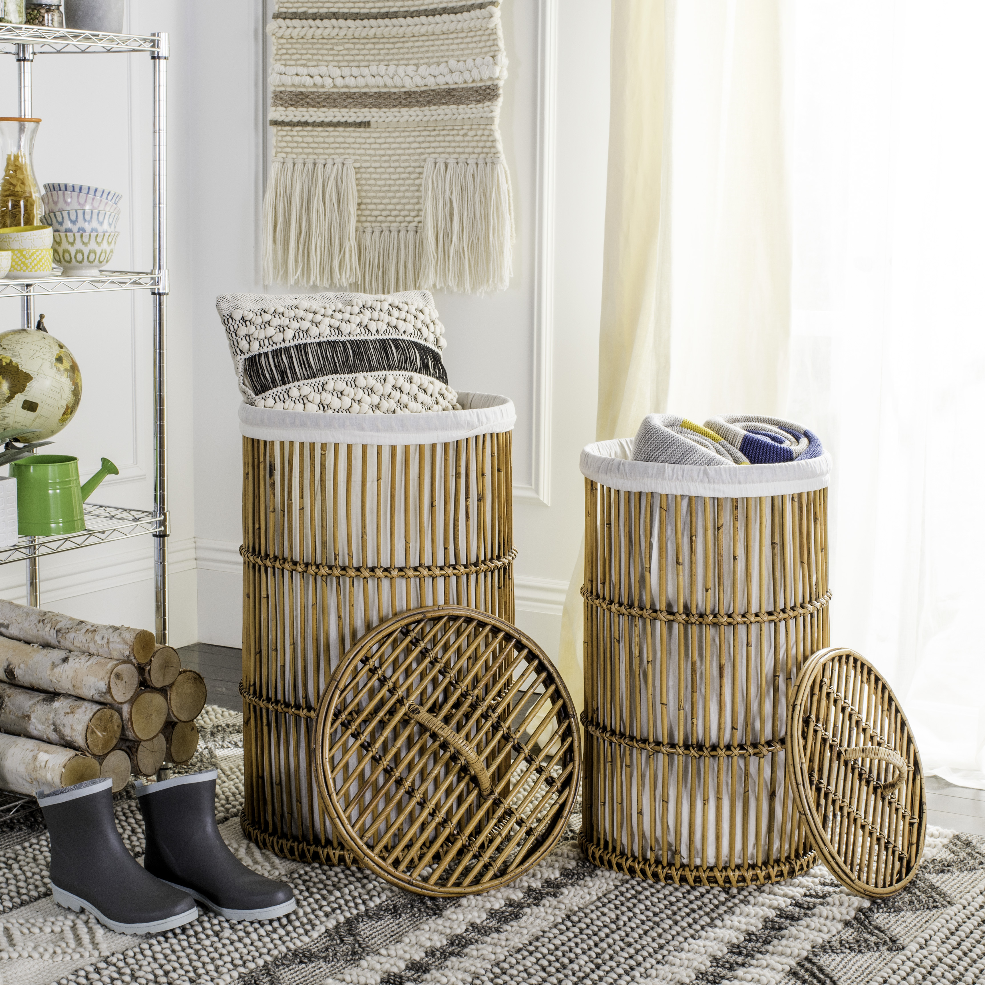 Hamper With Liner Safavieh Libby Nautical Rattan Storage Hamper With Liner
