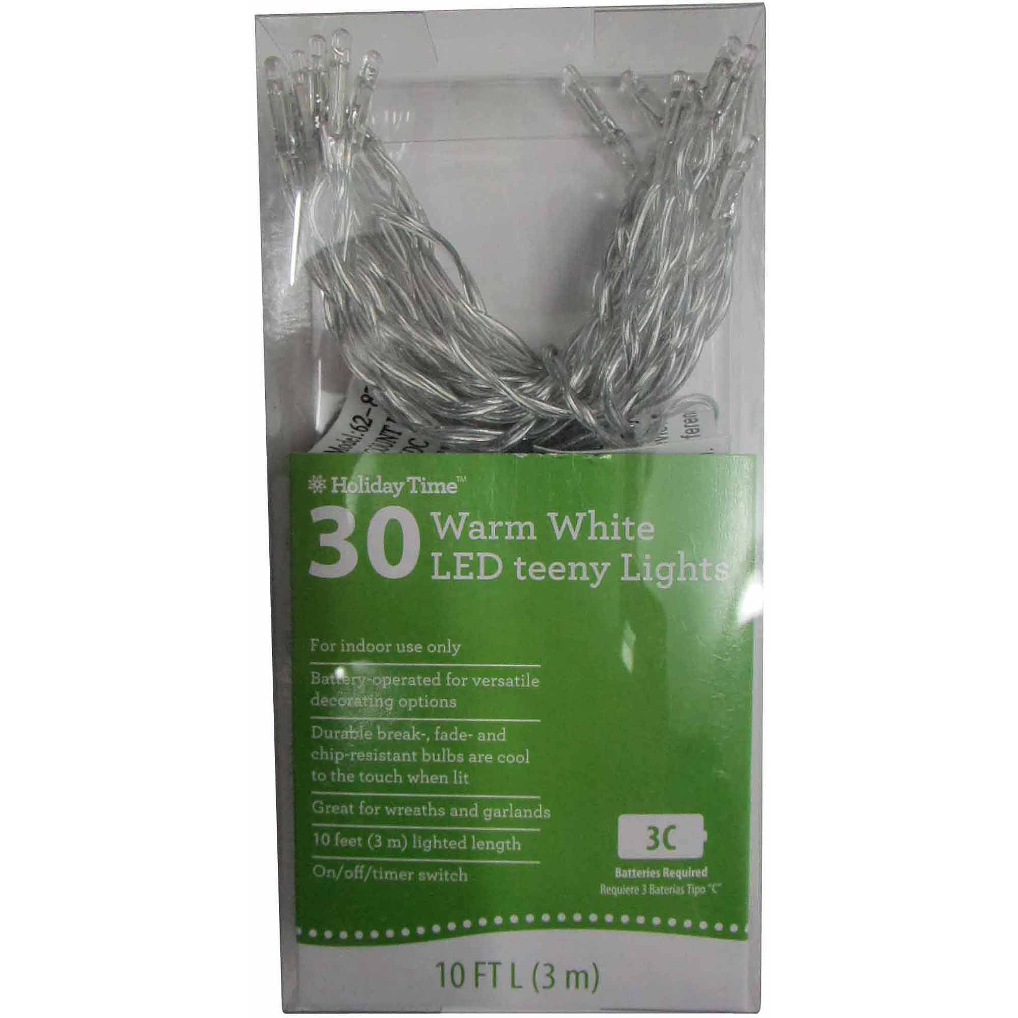 Led Lights At Walmart Holiday Time Battery Operated Led Light Set Warm White Bulb 30 Count