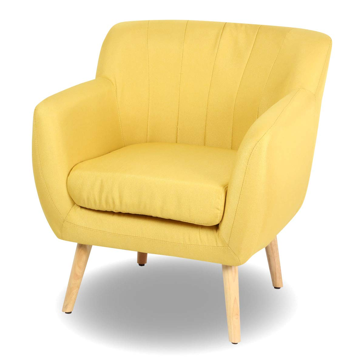 Sofa Fabric Magshion Mid Century Modern Living Room Accent Chair Club Chair Single Sofa Fabric Yellow