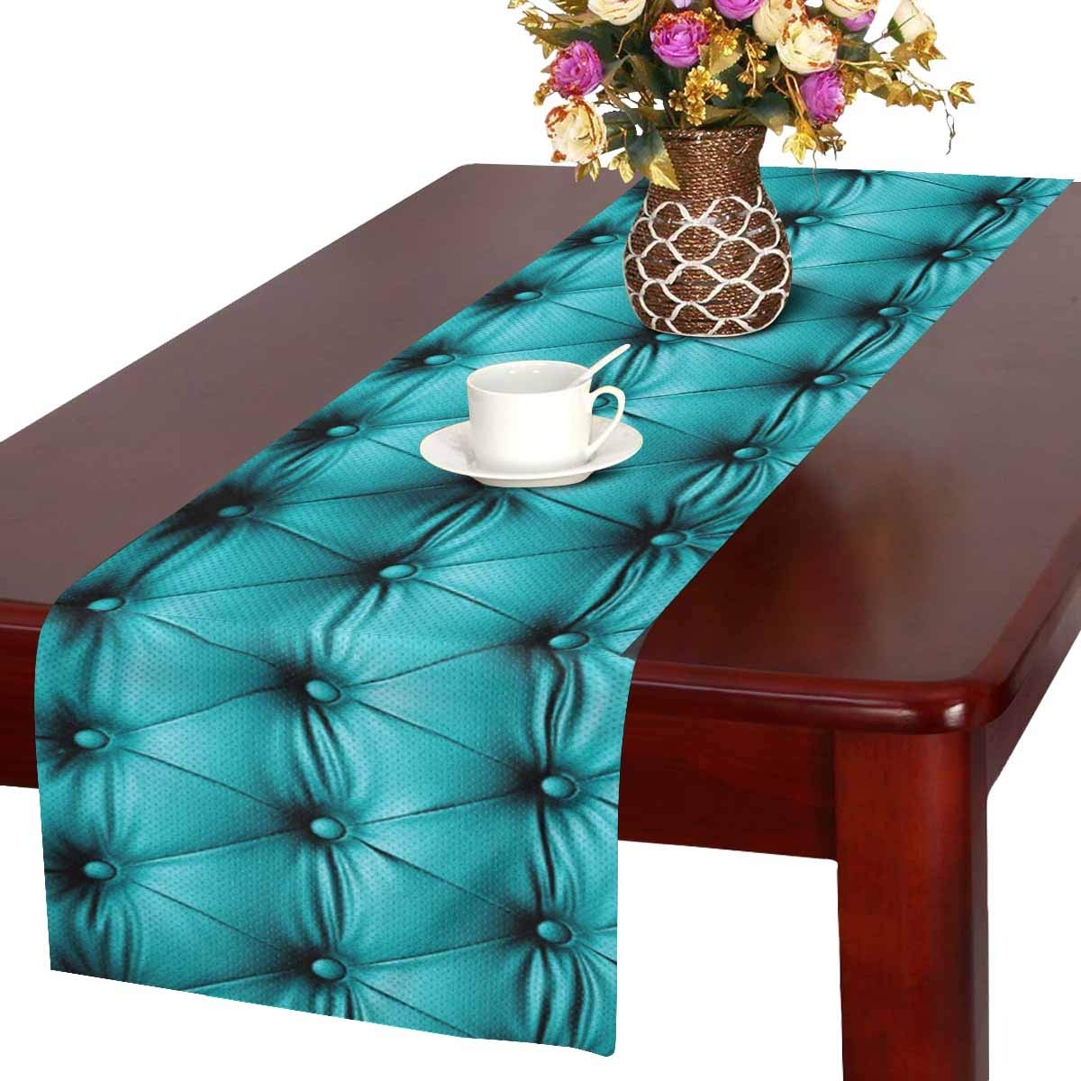 Mkhert Funny Blue Turquoise Buttoned Couch Sofa Bed Headboard Leather Table Runner For Office Kitchen Dining Wedding Party Banquet 16x72 Inch Walmart Com Walmart Com