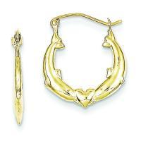 10K Gold Dolphin Heart Hollow Hoop Earrings Jewelry ...
