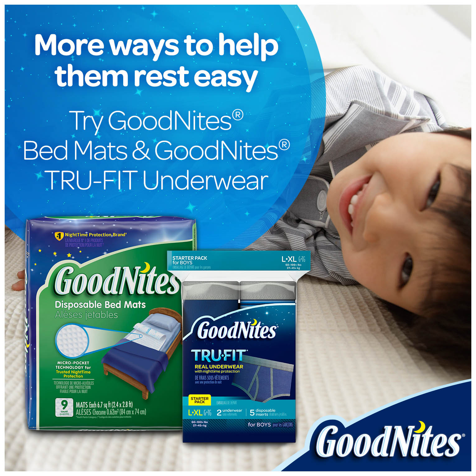 Huggies Drynites Bed Mats Goodnites Bedtime Bedwetting Underwear For Boys Choose Size And