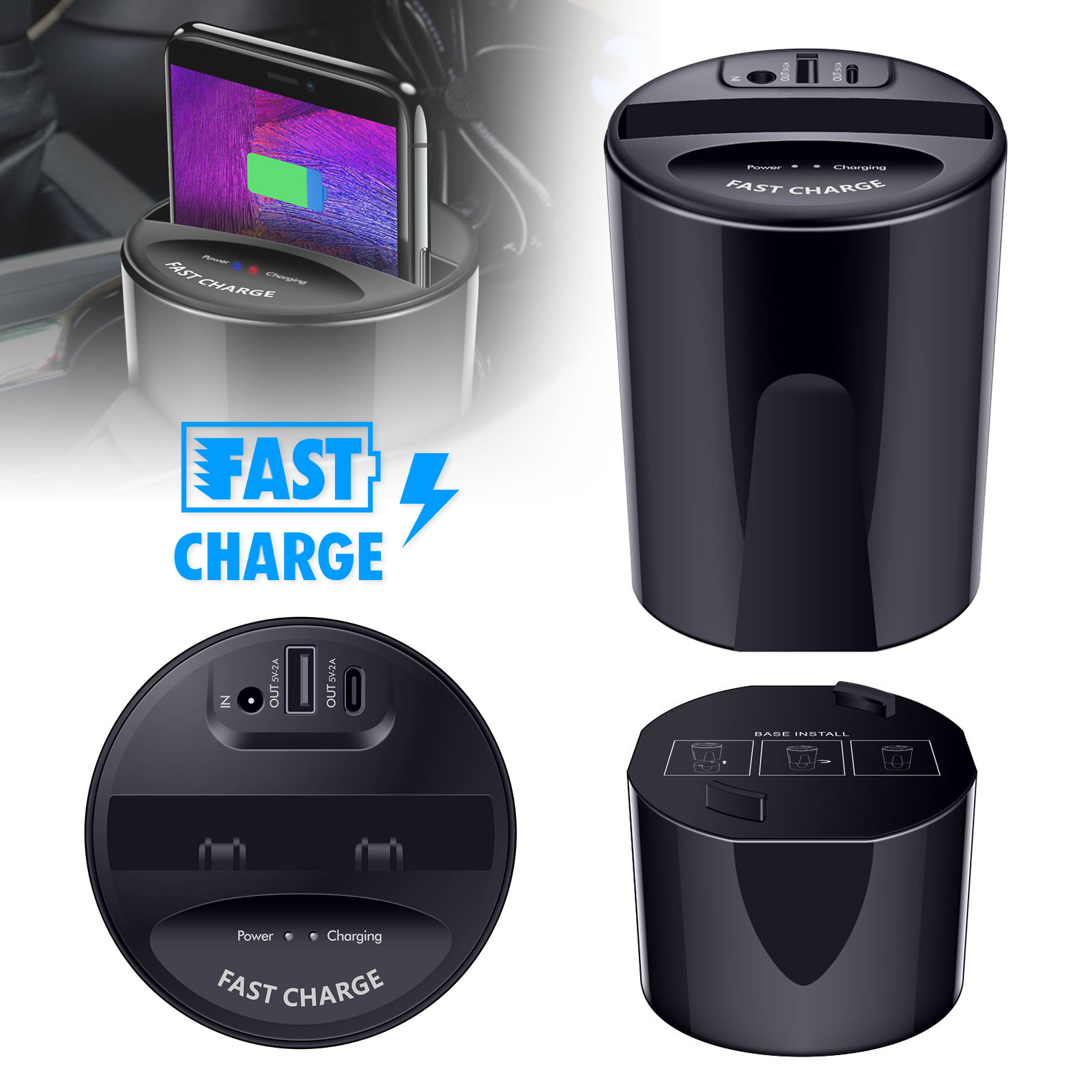 Tsv Car Wireless Charger Cup Holder Qi Wireless Car Charger Wireless Charger Phone Charger Fast
