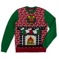 Ugly Christmas Sweater Mens Fireplace Scene Christmas ...