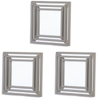 Elements Silver Triple Square Wall Mirrors, Set of 3, 12 ...