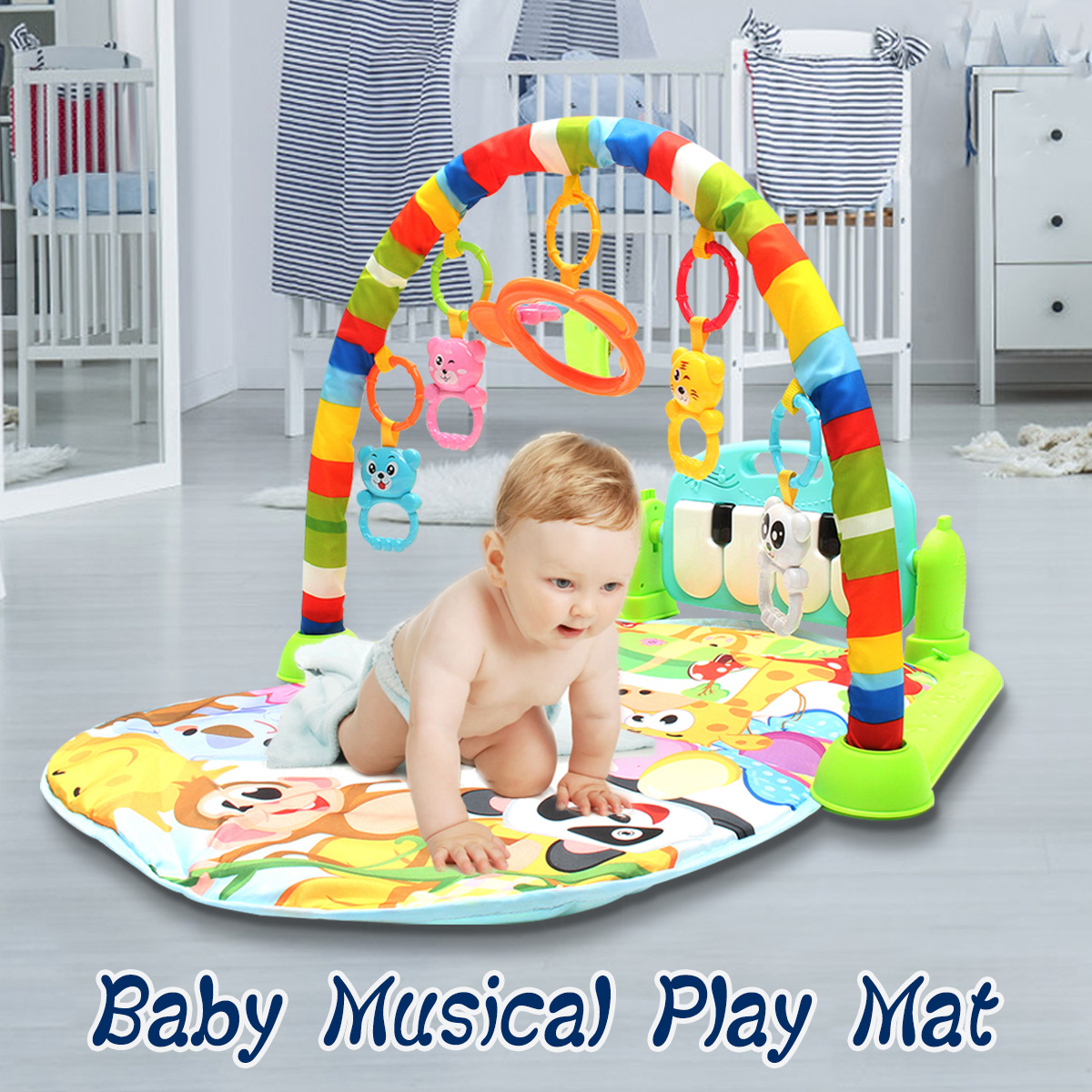 How To Play Newborn On Piano Newborn Infant Baby Play Mat Gym Musical Piano Play Mat Kids Activity Carpet