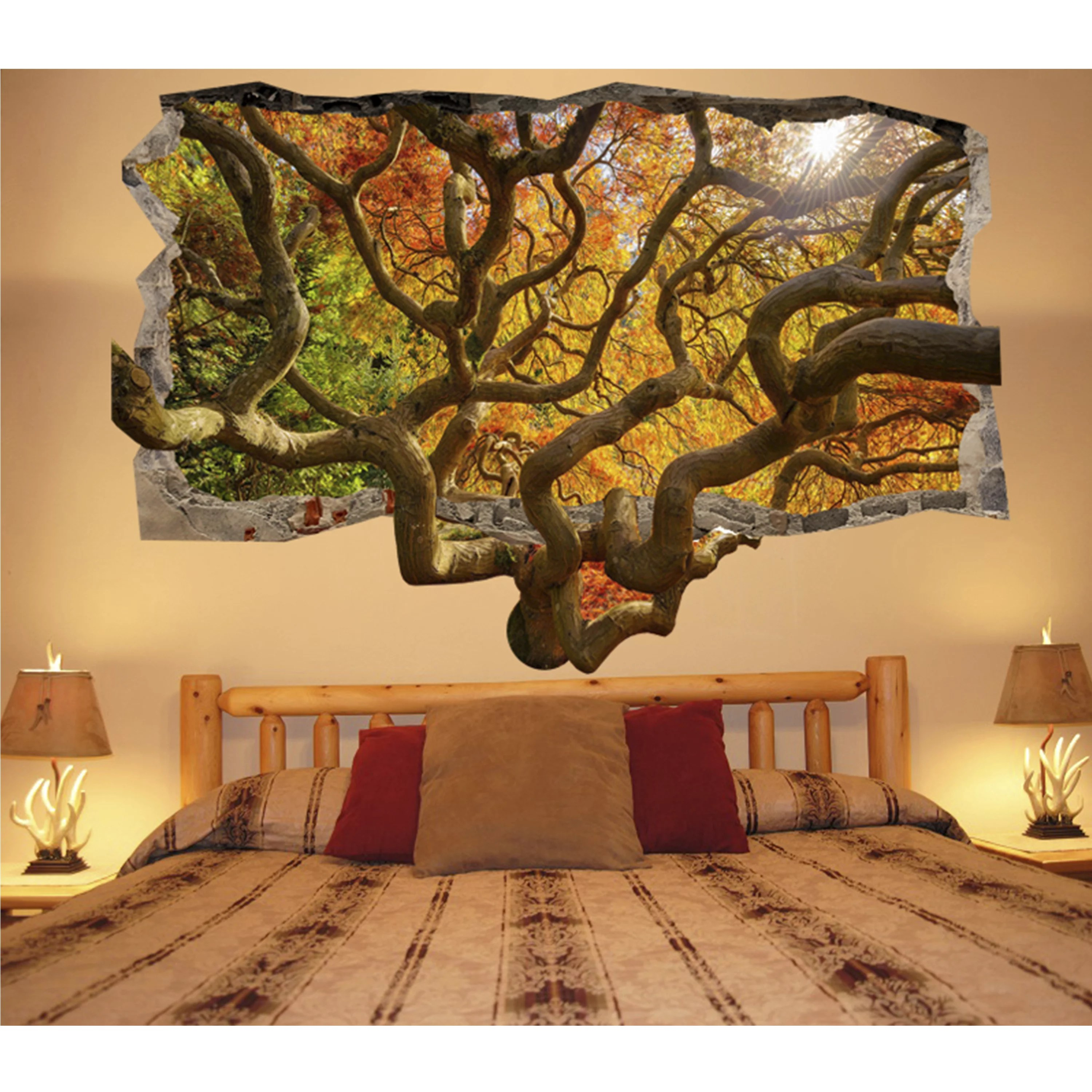 Wall Decoration Murale Startonight 3d Mural Wall Art Photo Decor Brown Tree Amazing Dual View Surprise Wall Mural Wallpaper For Bedroom Nature Wall Paper Art Gift Large