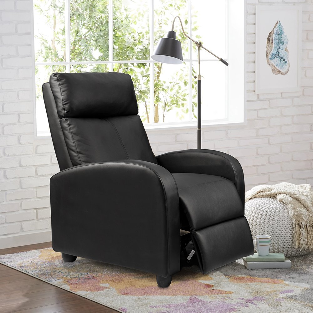 Modern Living Room Recliners Single Recliner Chair Padded Seat Black Pu Leather Living Room Recliner Modern Recliner Sofa Seat Black