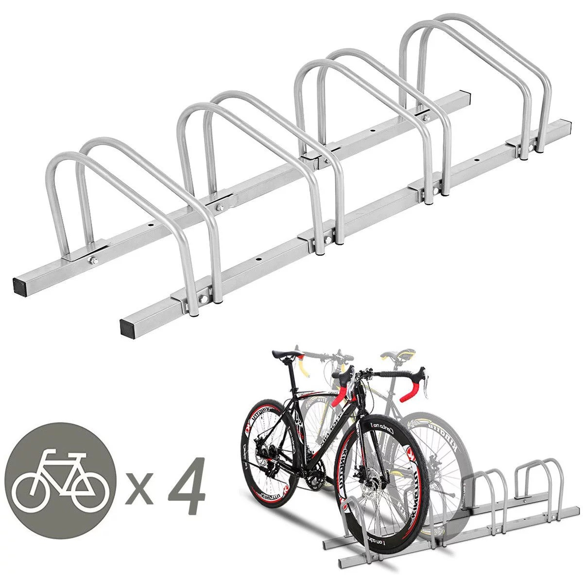 Parking Garage Bike Rack Gymax 4 Bike Bicycle Stand Parking Garage Storage Cycling Rack Silver