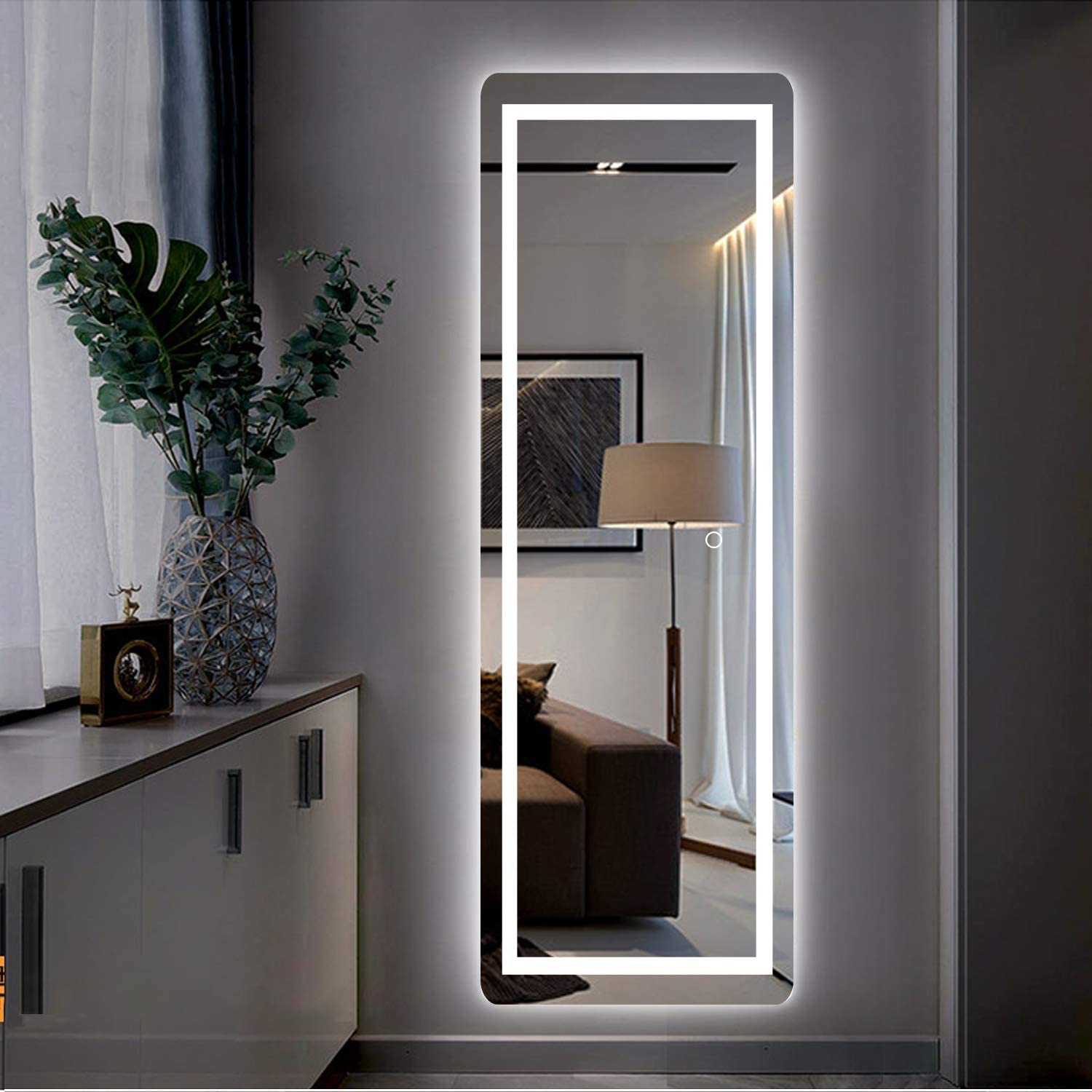 Led Full Length Mirror Wall Mounted Lighted Floor Mirror Dressing Mirror Make Up Mirror Bathroom
